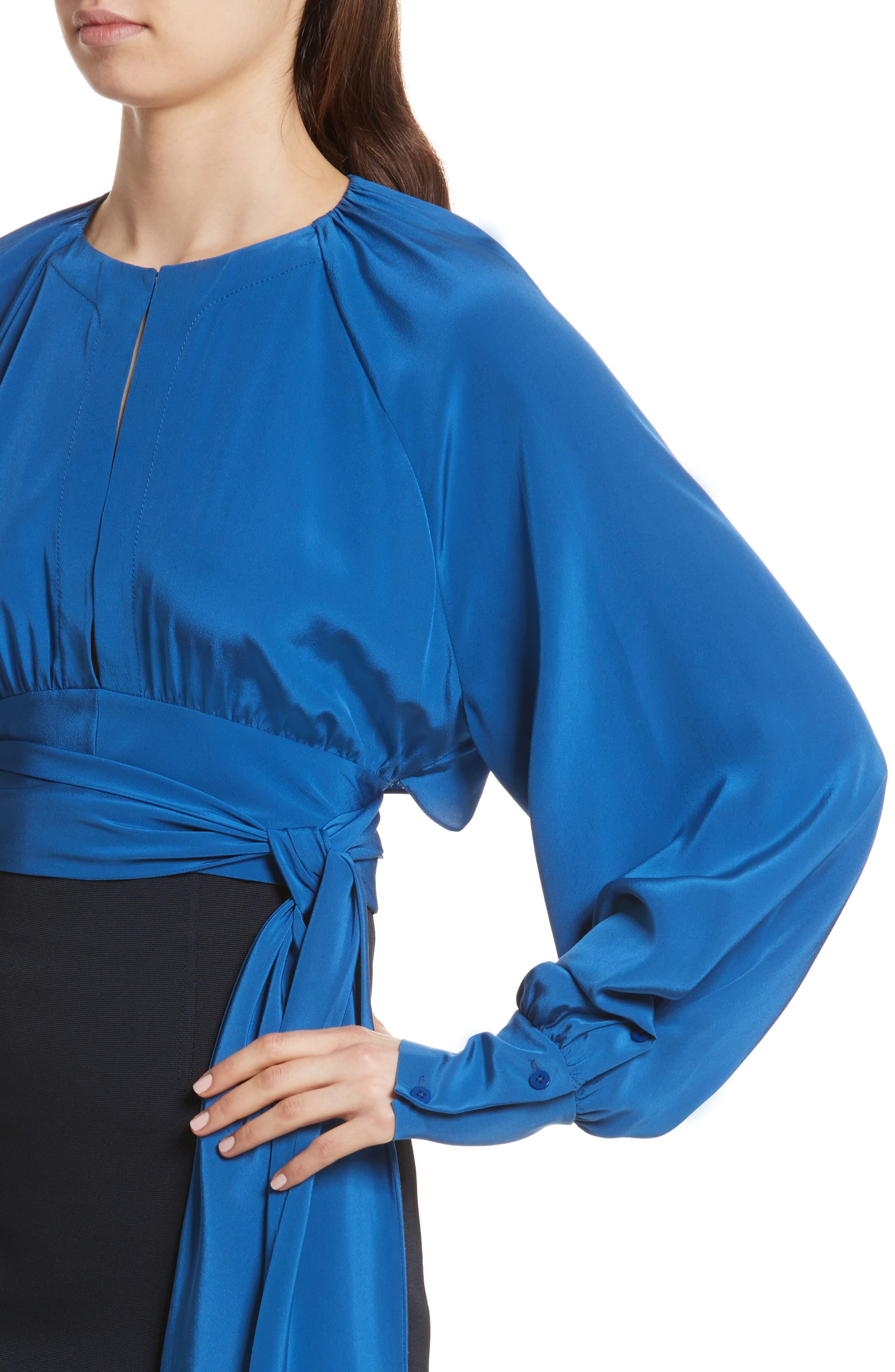 Diane von Furstenberg Keyhole Silk Blouse,                             Alternate thumbnail 4, color,                             Hydrangea