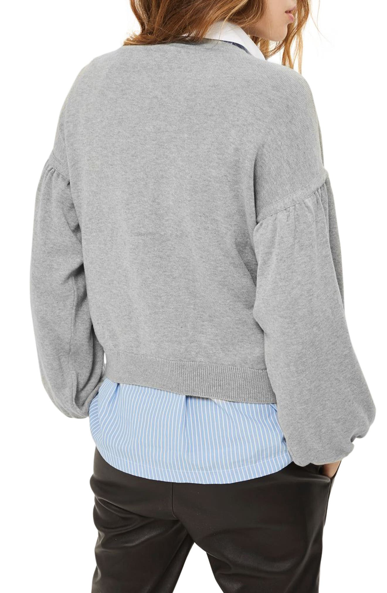 Beaded Balloon Sleeve Sweater,                             Alternate thumbnail 3, color,                             Grey Marl Multi