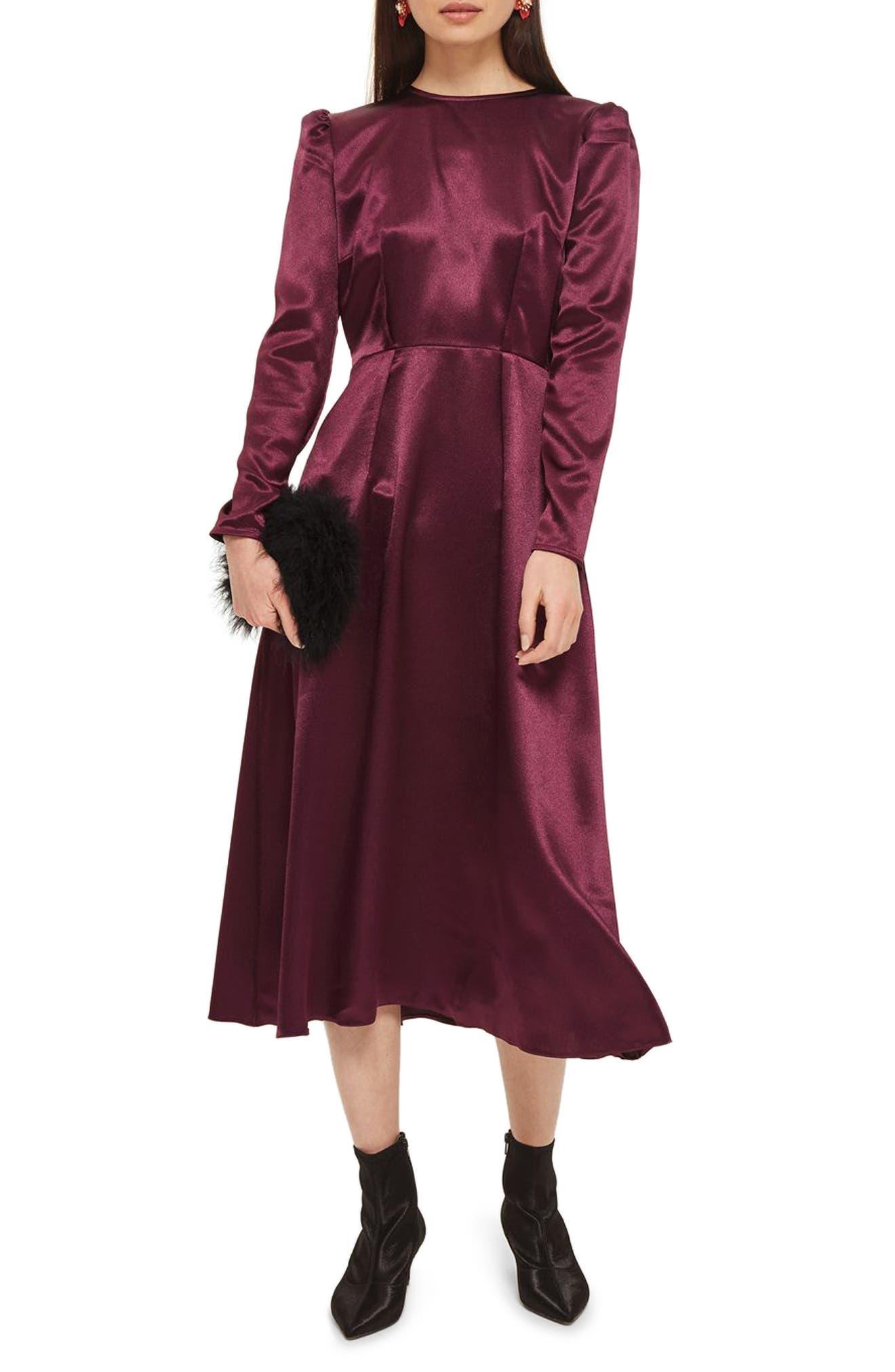 Shimmer Satin Tie Back Midi Dress,                             Main thumbnail 1, color,                             Burgundy