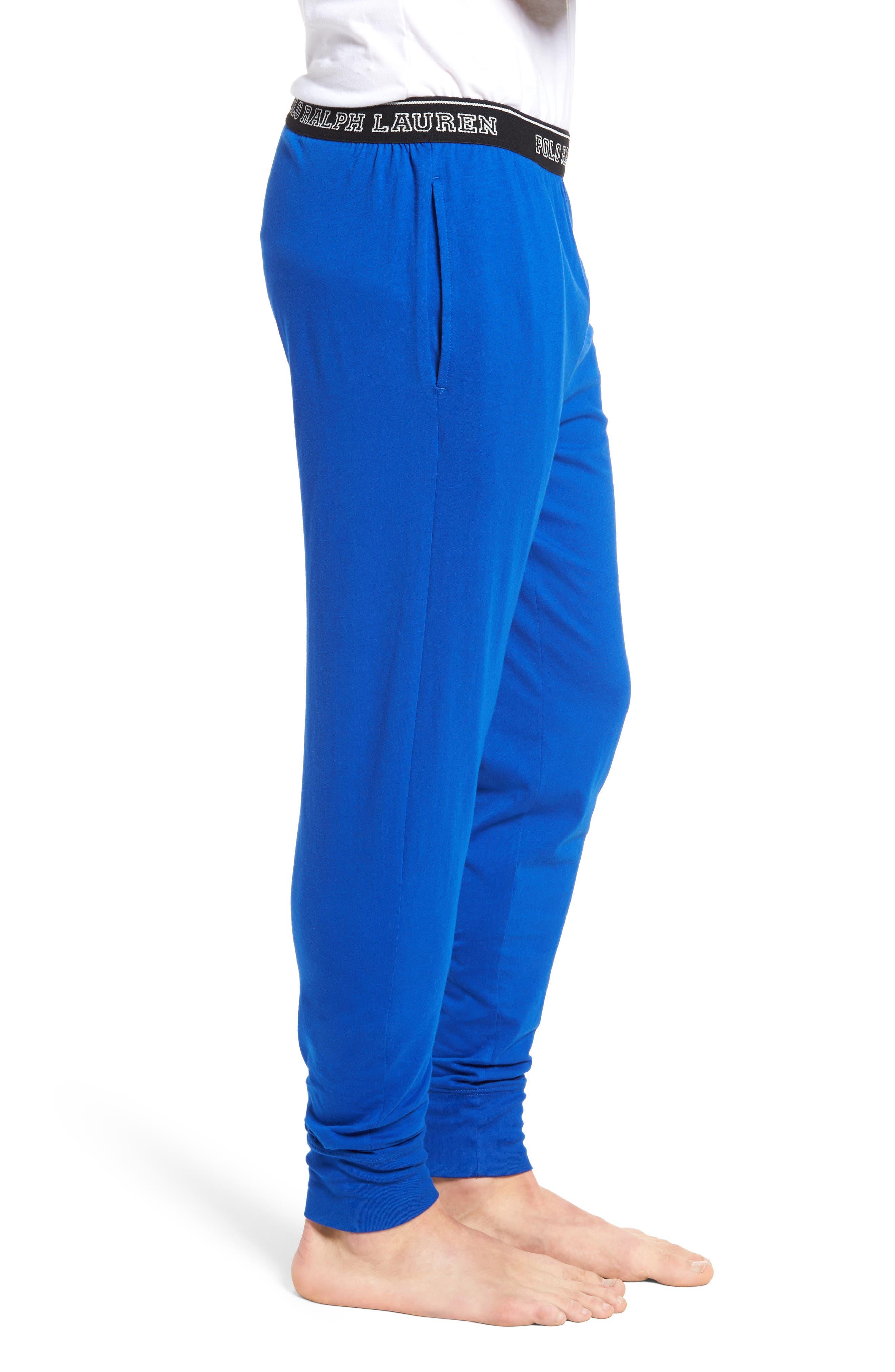 Polo Ralph Lauren Cotton Lounge Pants,                             Alternate thumbnail 3, color,                             Sapphire Star/ Crescent Cream