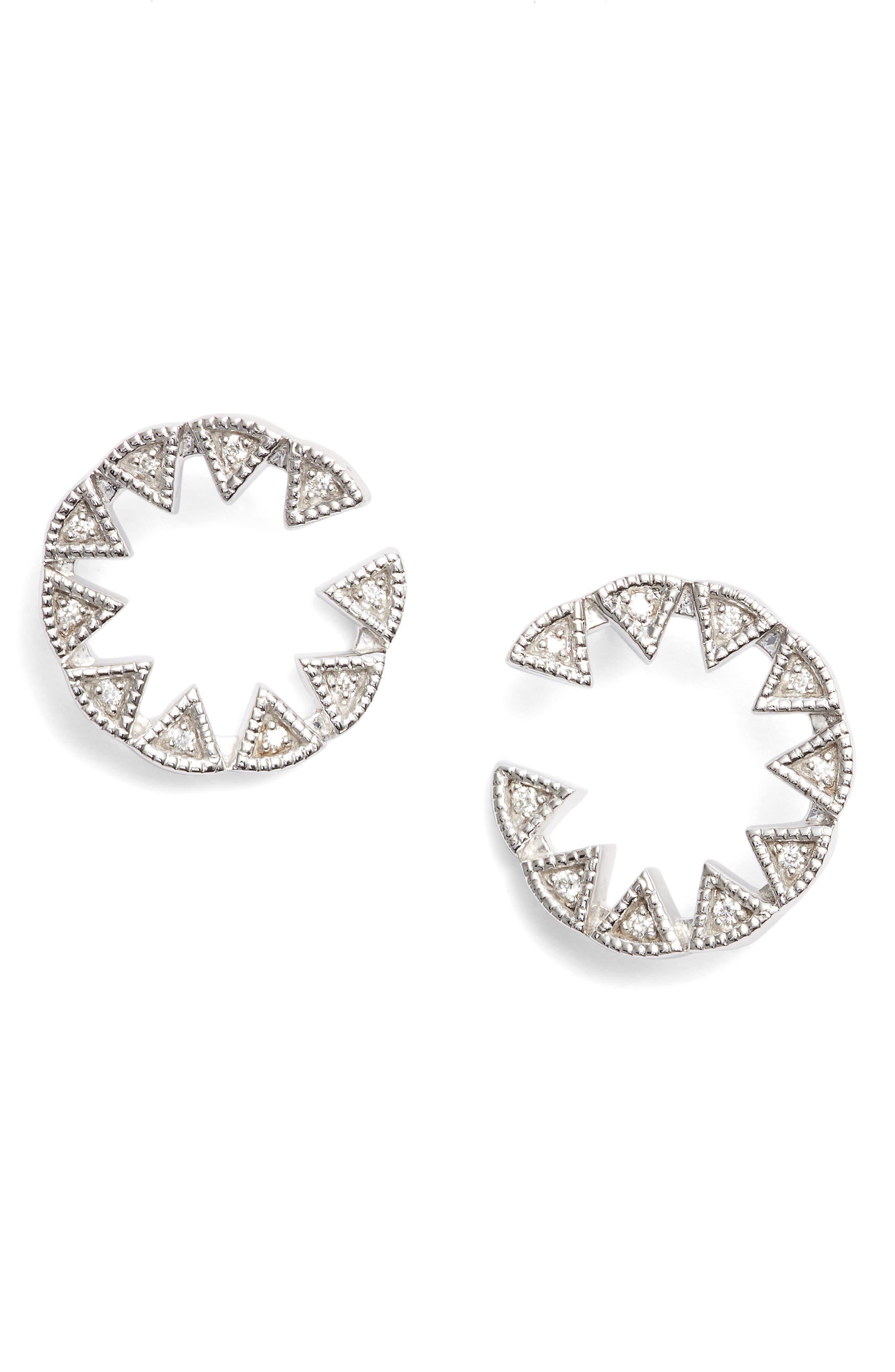 Emily Sarah Triangle Diamond Stud Earrings,                             Main thumbnail 1, color,                             White Gold
