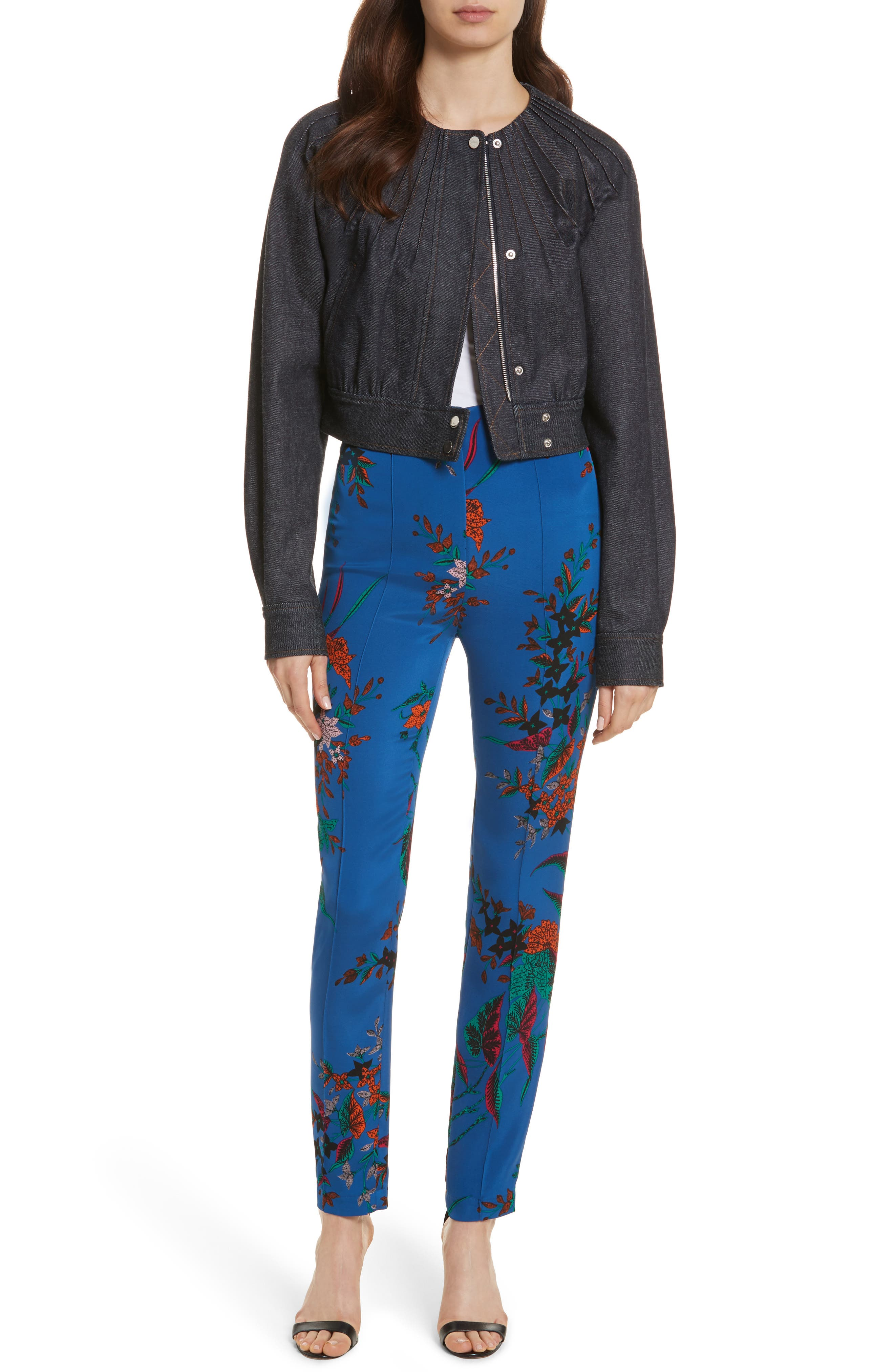High Waist Print Skinny Pants,                             Alternate thumbnail 7, color,                             Camden Cove