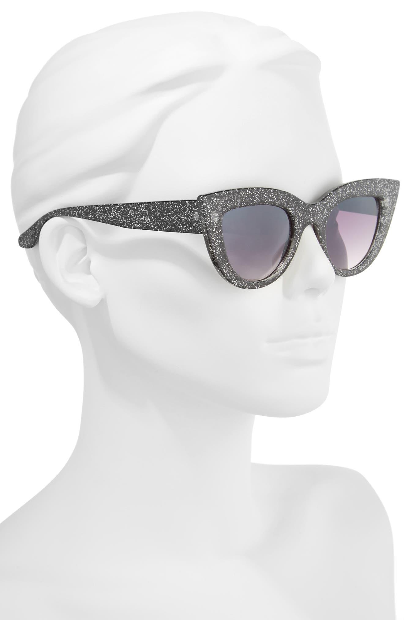 45mm Glitter Cat Eye Sunglasses,                             Alternate thumbnail 2, color,                             Black/ Silver