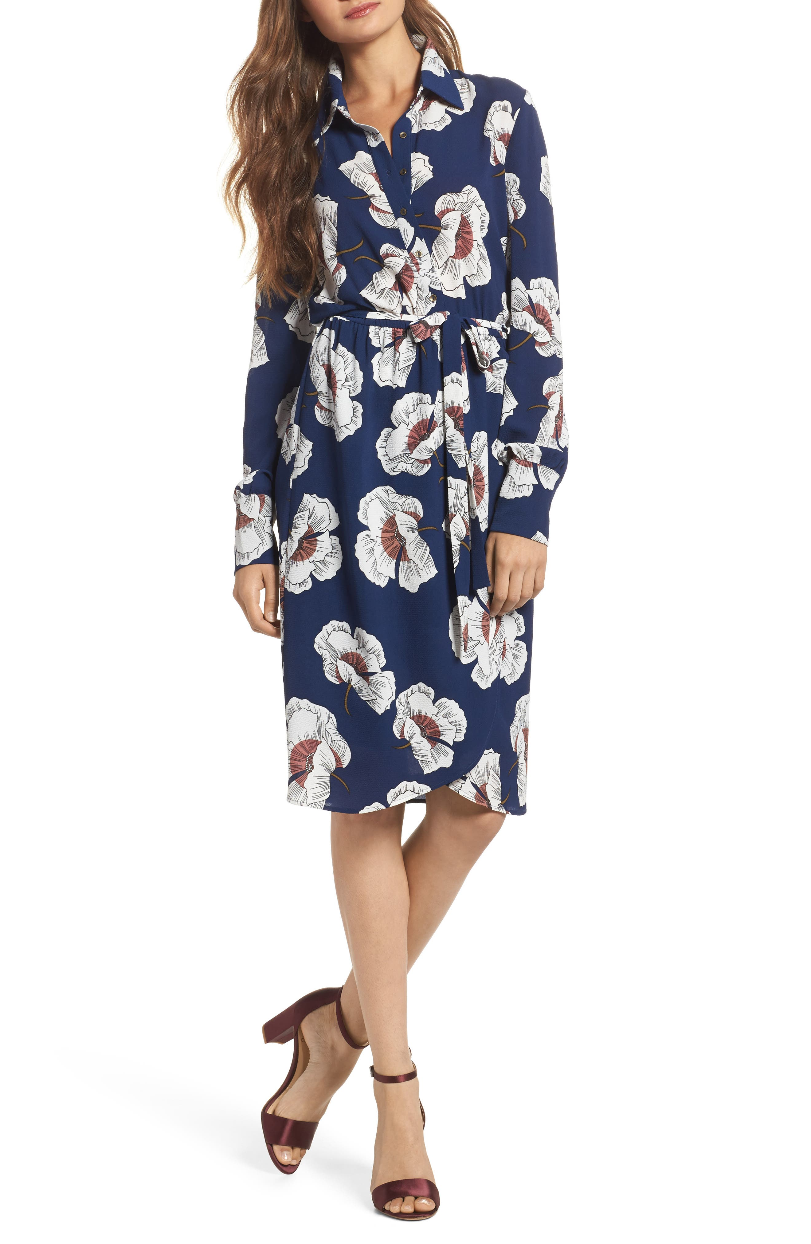 Floral Shirtdress,                         Main,                         color, Navy Floral