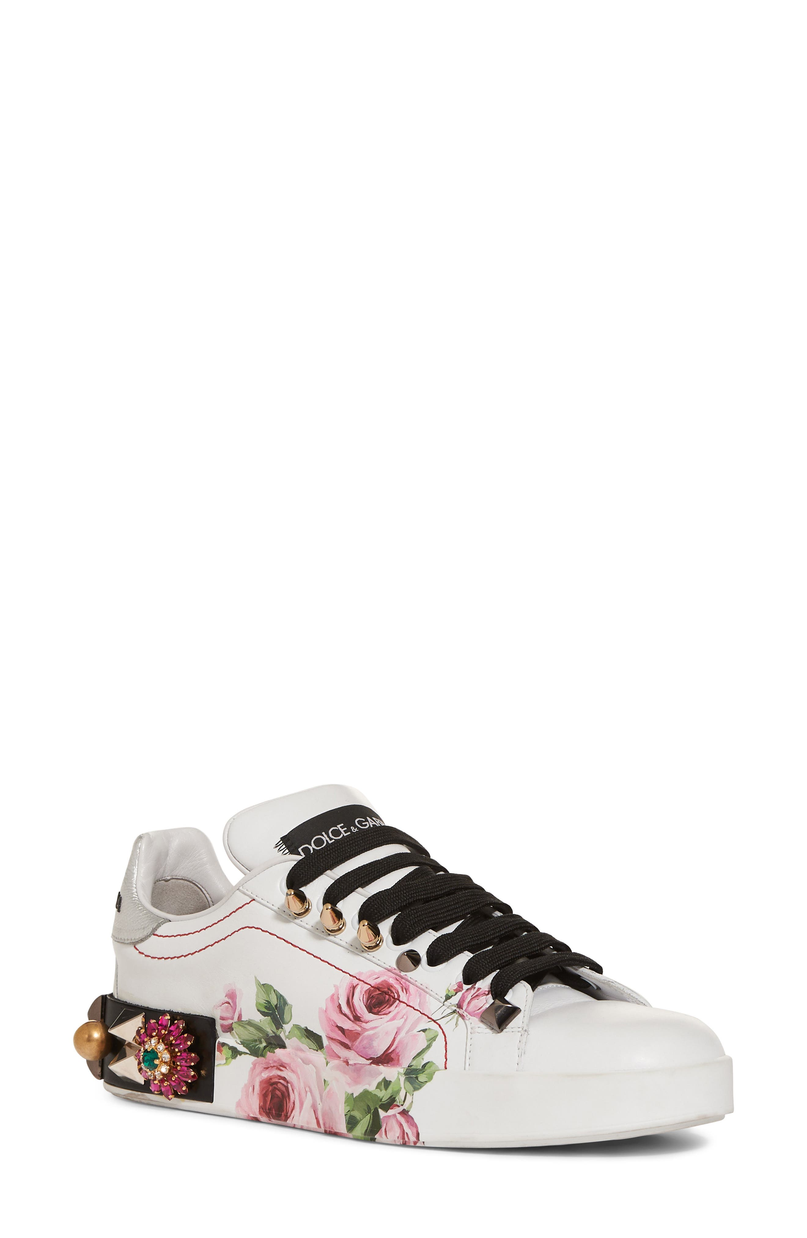 Floral Embellished Sneaker,                             Main thumbnail 1, color,                             White/ Pink Floral