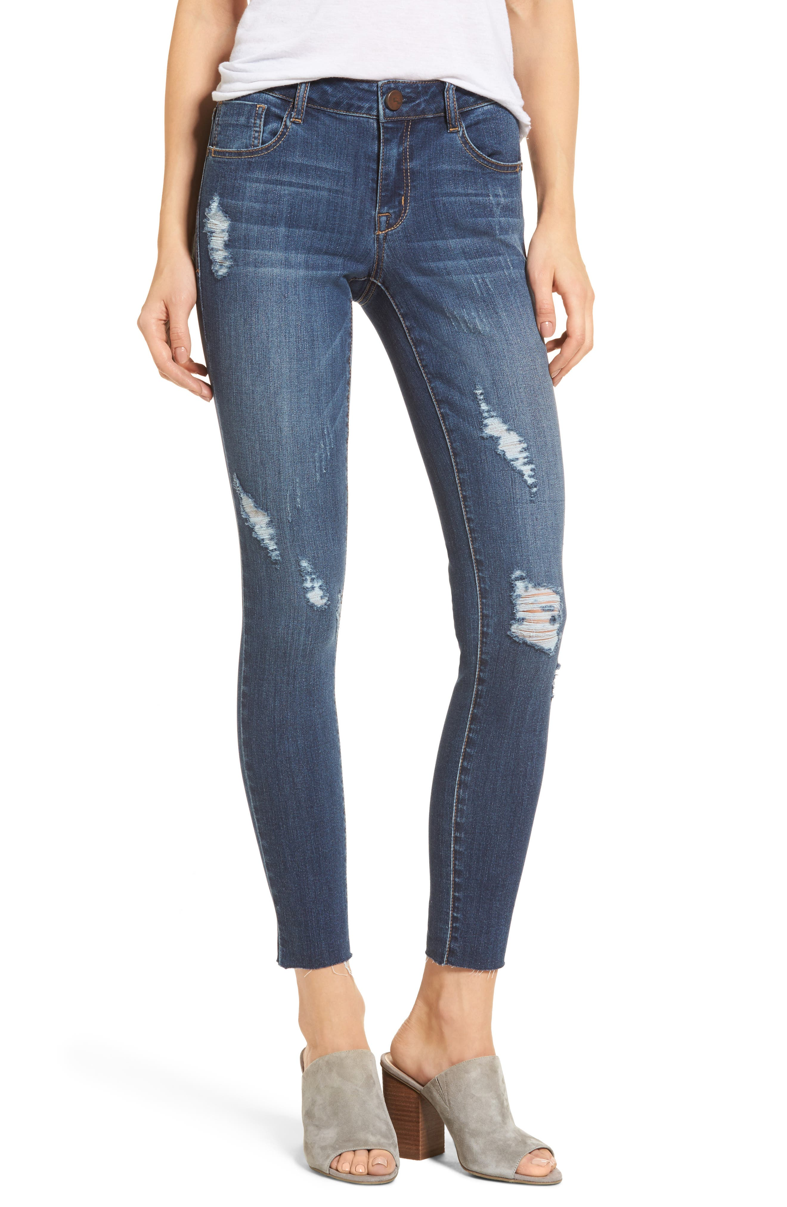 Decon Distressed Skinny Jeans,                             Main thumbnail 1, color,                             Wall Flowers Med Wash