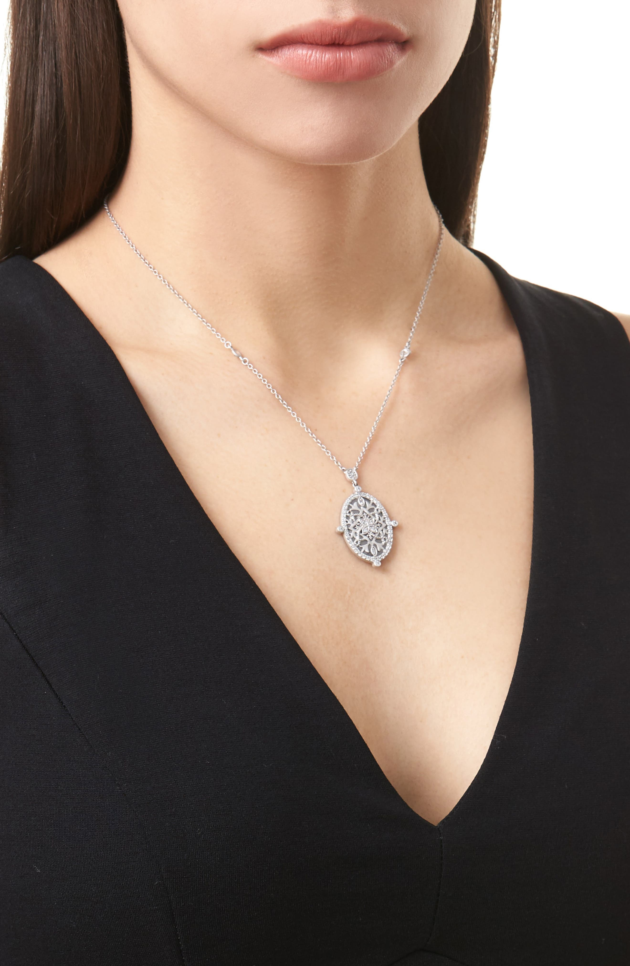 Contemporary Deco Celestial Pendant Necklace,                             Alternate thumbnail 2, color,                             Silver/ Black