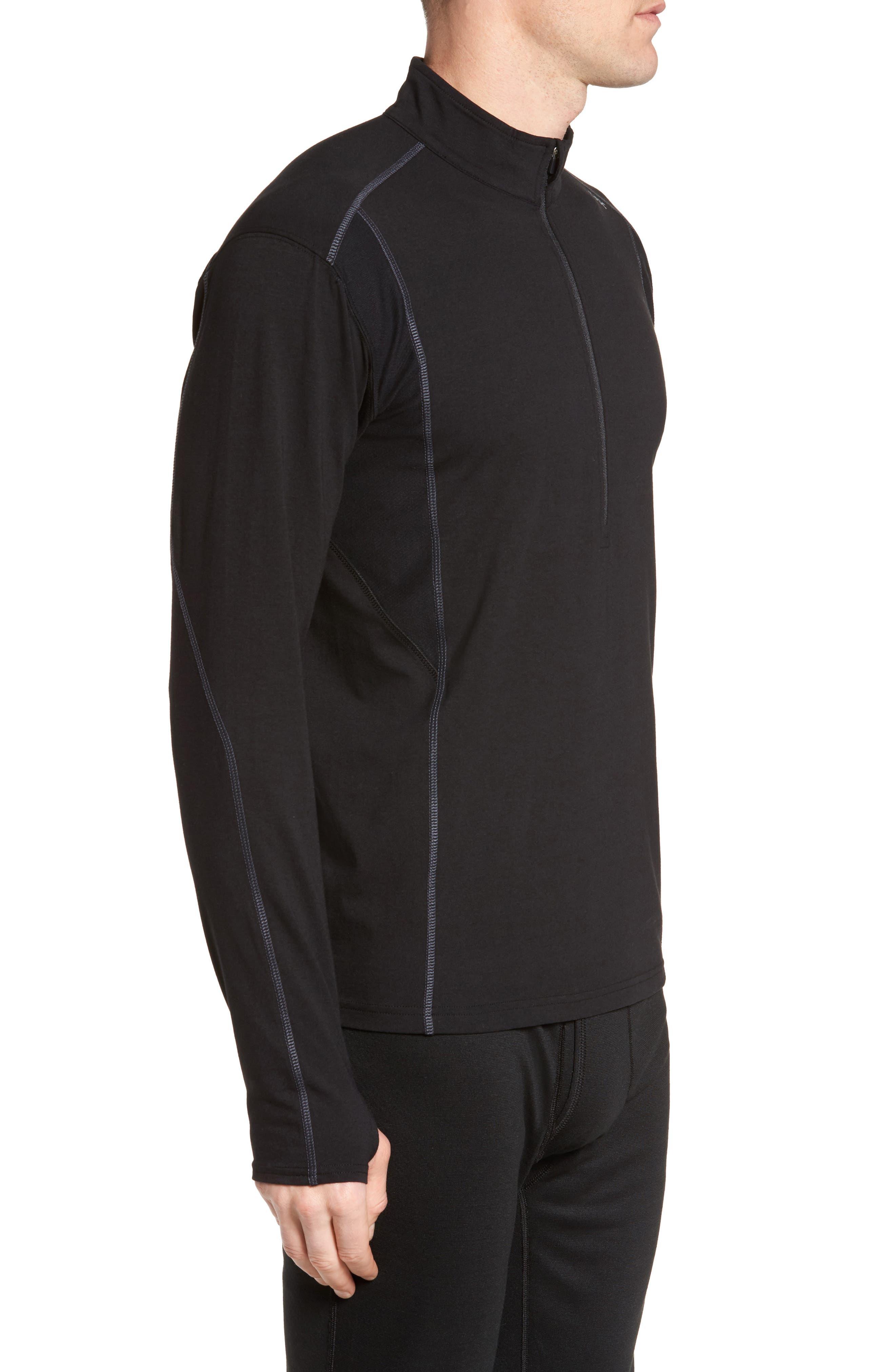 Charge Quarter-Zip Pullover,                             Alternate thumbnail 3, color,                             Black/ Gunmetal