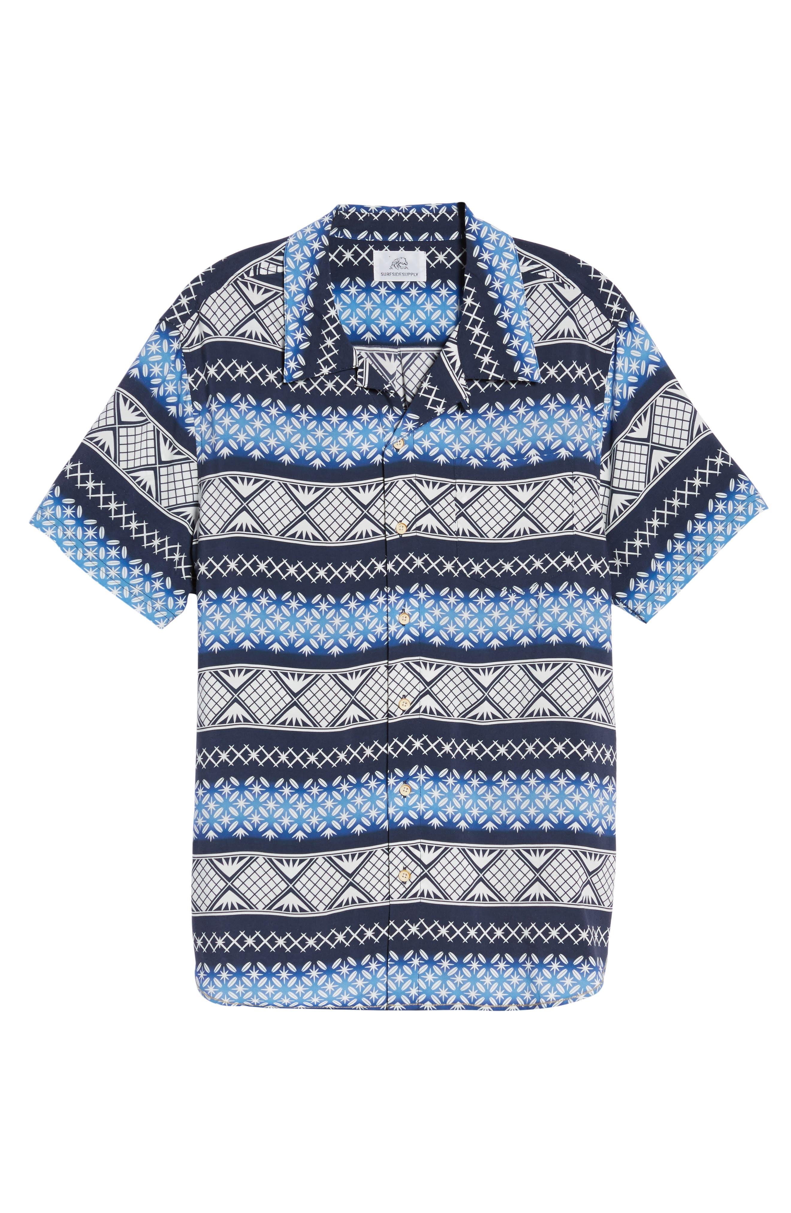 Geo Print Sport Shirt,                             Alternate thumbnail 6, color,                             Navy Blazer