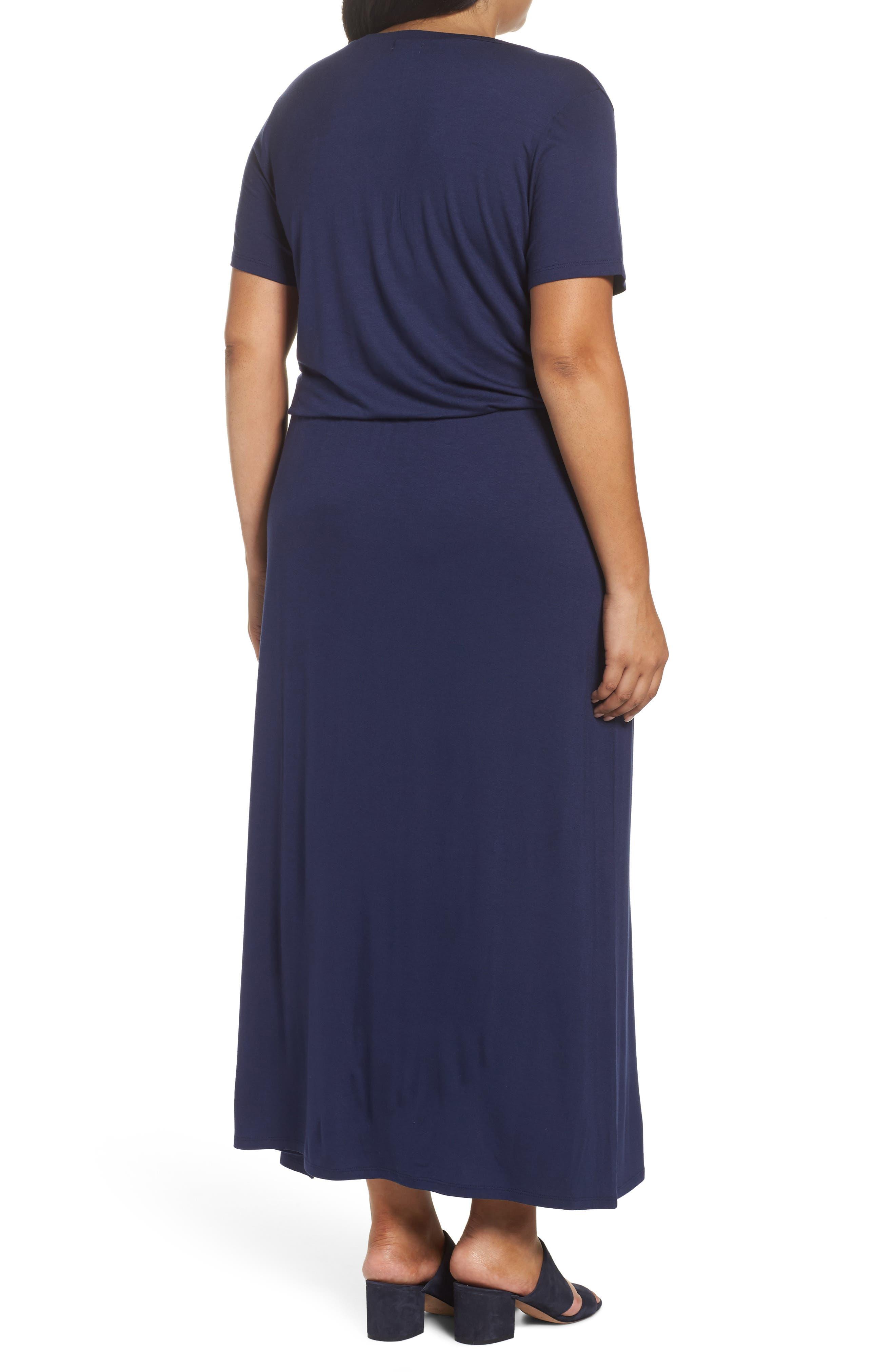 Alternate Image 2  - Caslon® Knit Drawstring Waist Maxi Dress (Plus Size)