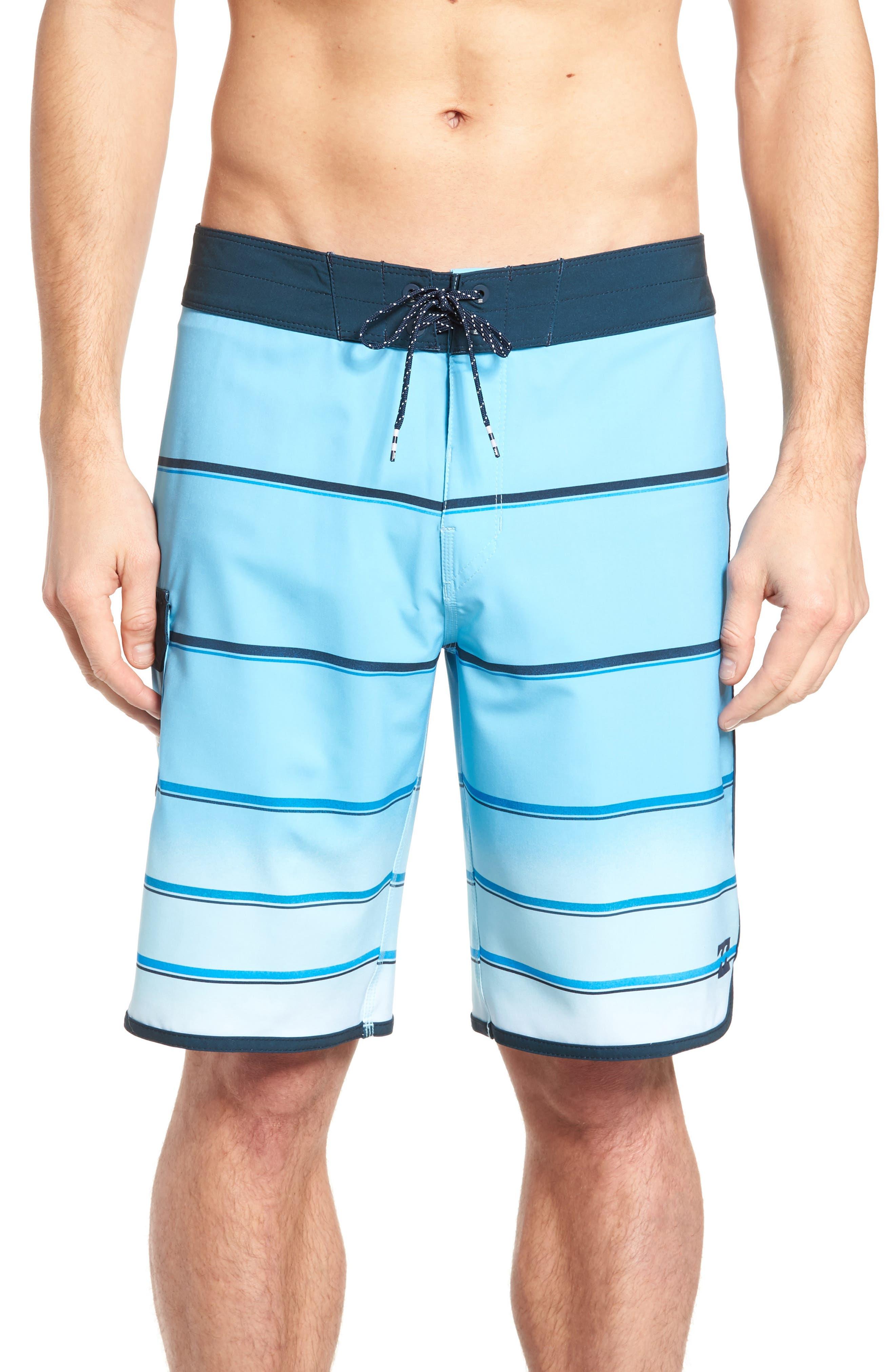73 X Stripe Board Shorts,                             Main thumbnail 1, color,                             Light Blue