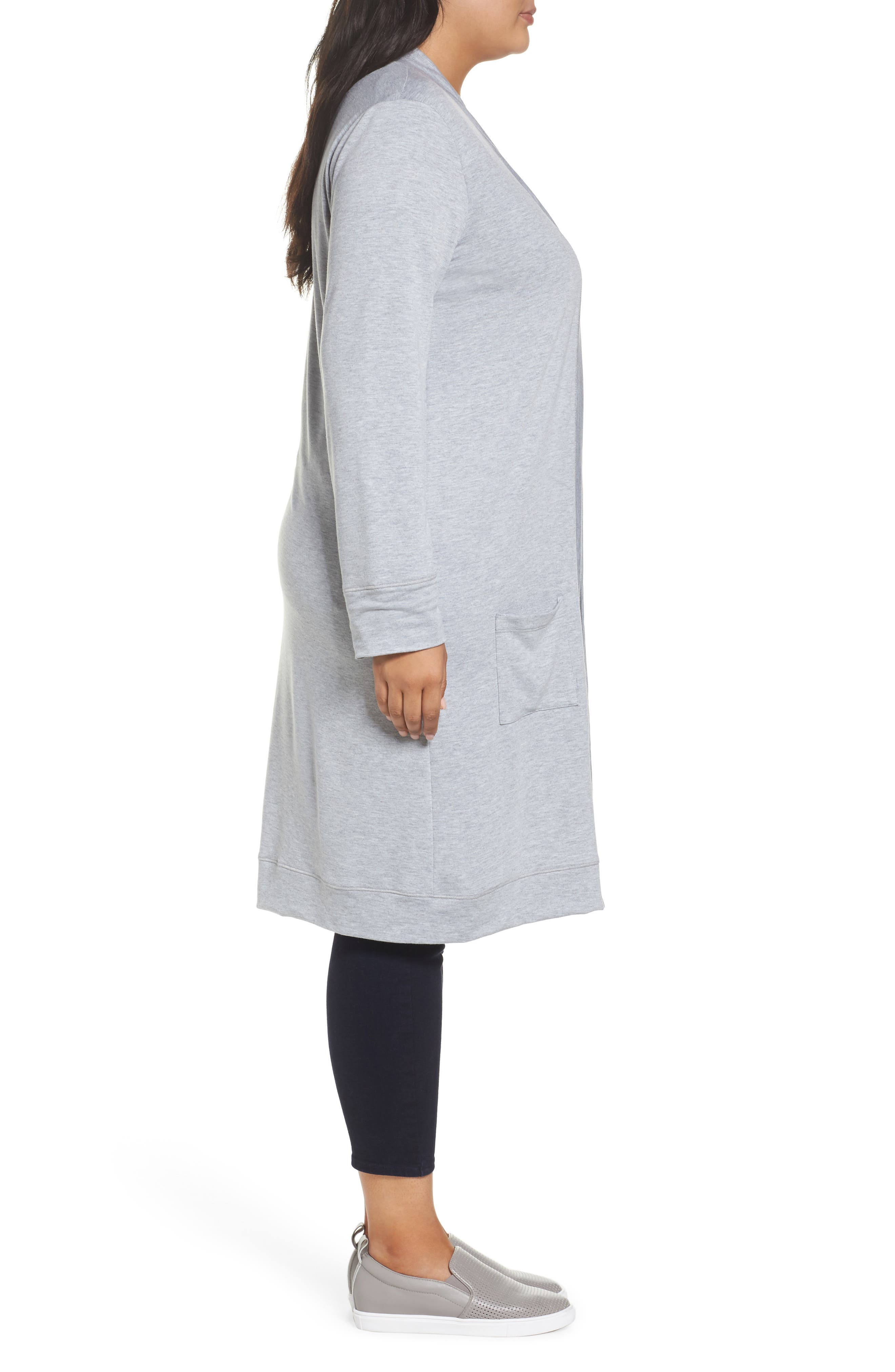 Alternate Image 3  - Caslon® Long French Terry Cardigan (Plus Size)
