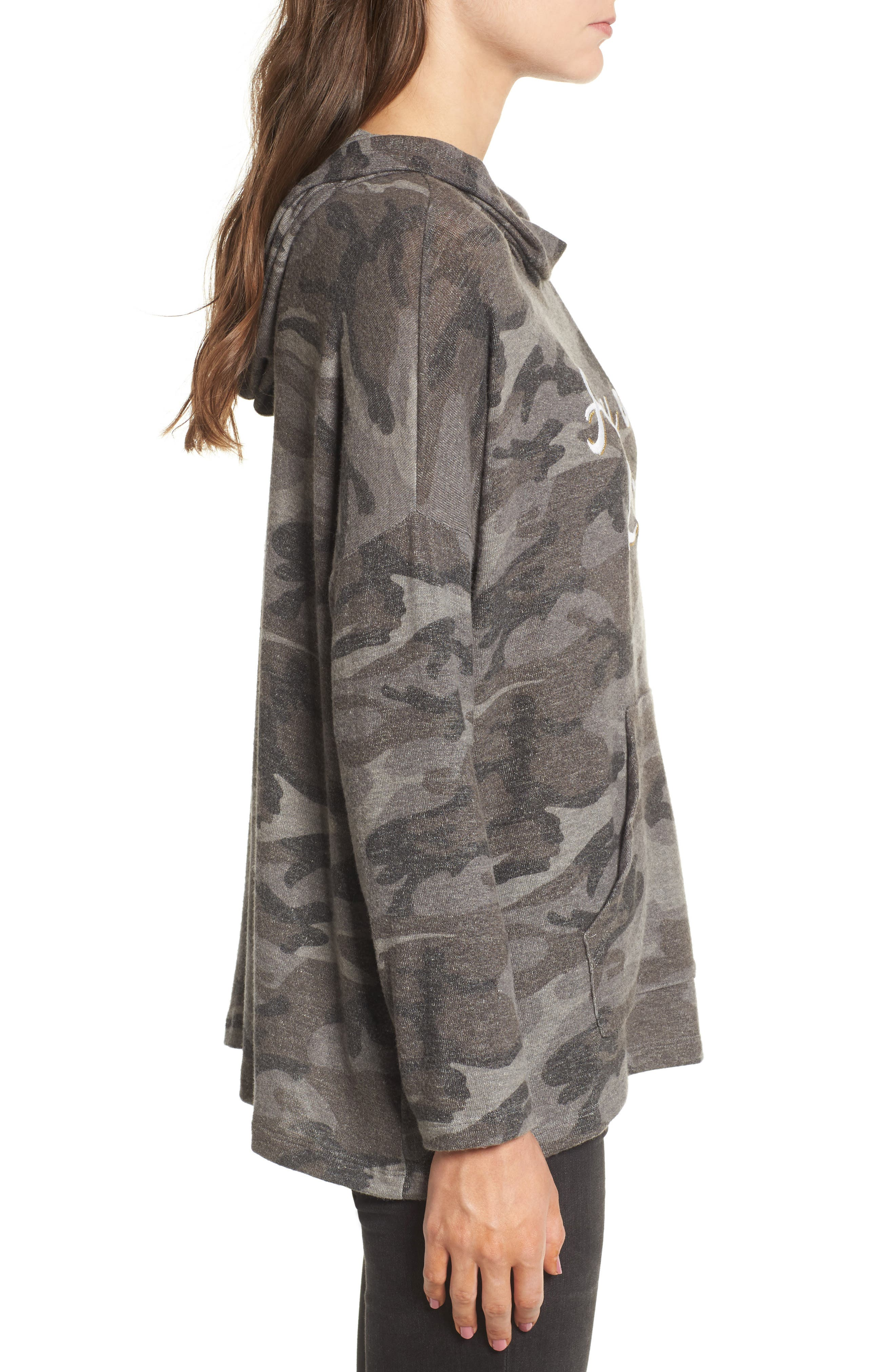 Army of Lovers Camo Hoodie,                             Alternate thumbnail 3, color,                             Charcoal Camo