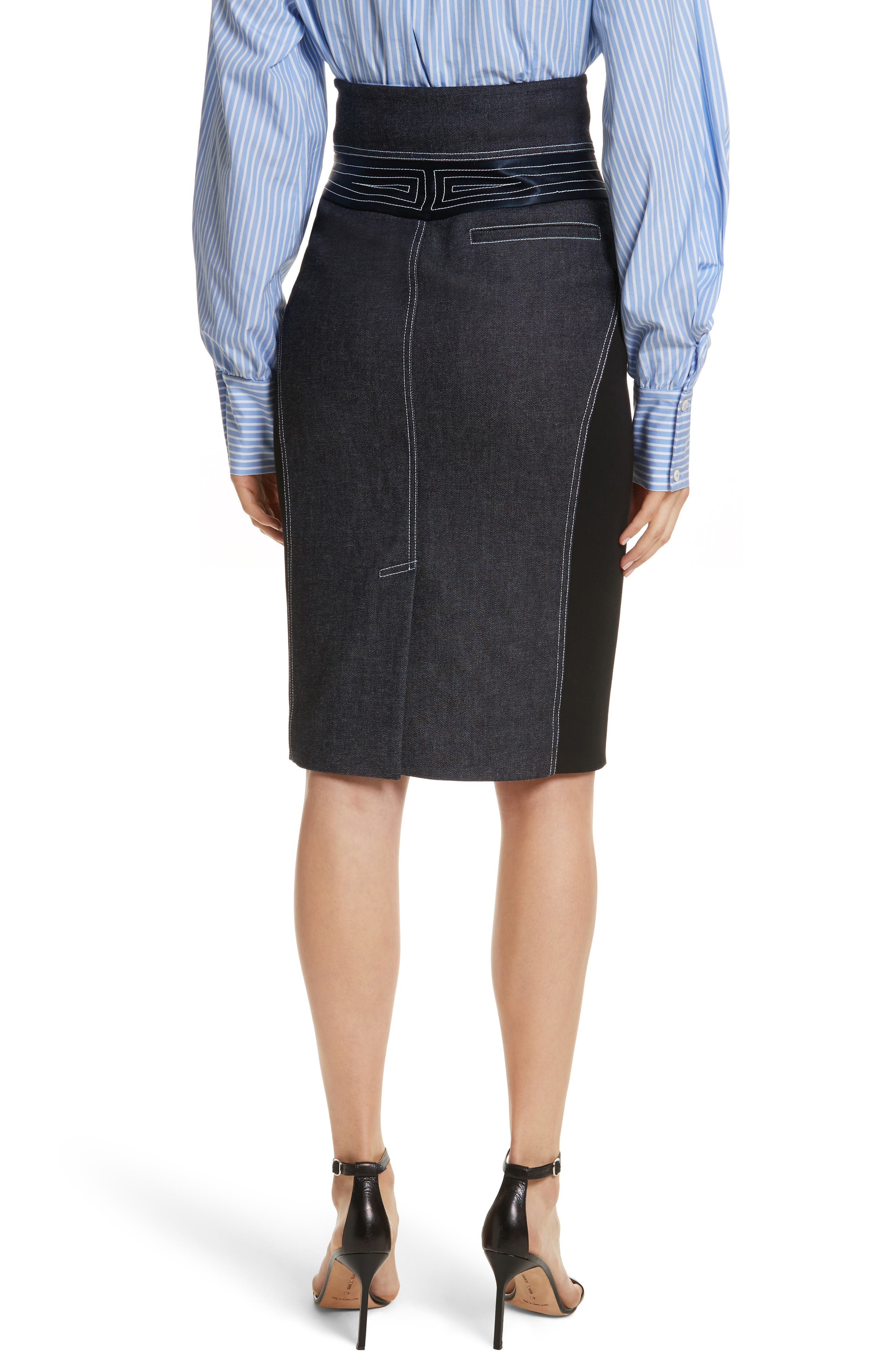 Diane von Furstenberg Denim Pencil Skirt,                             Alternate thumbnail 2, color,                             Indigo/ Black/ Alexander Navy
