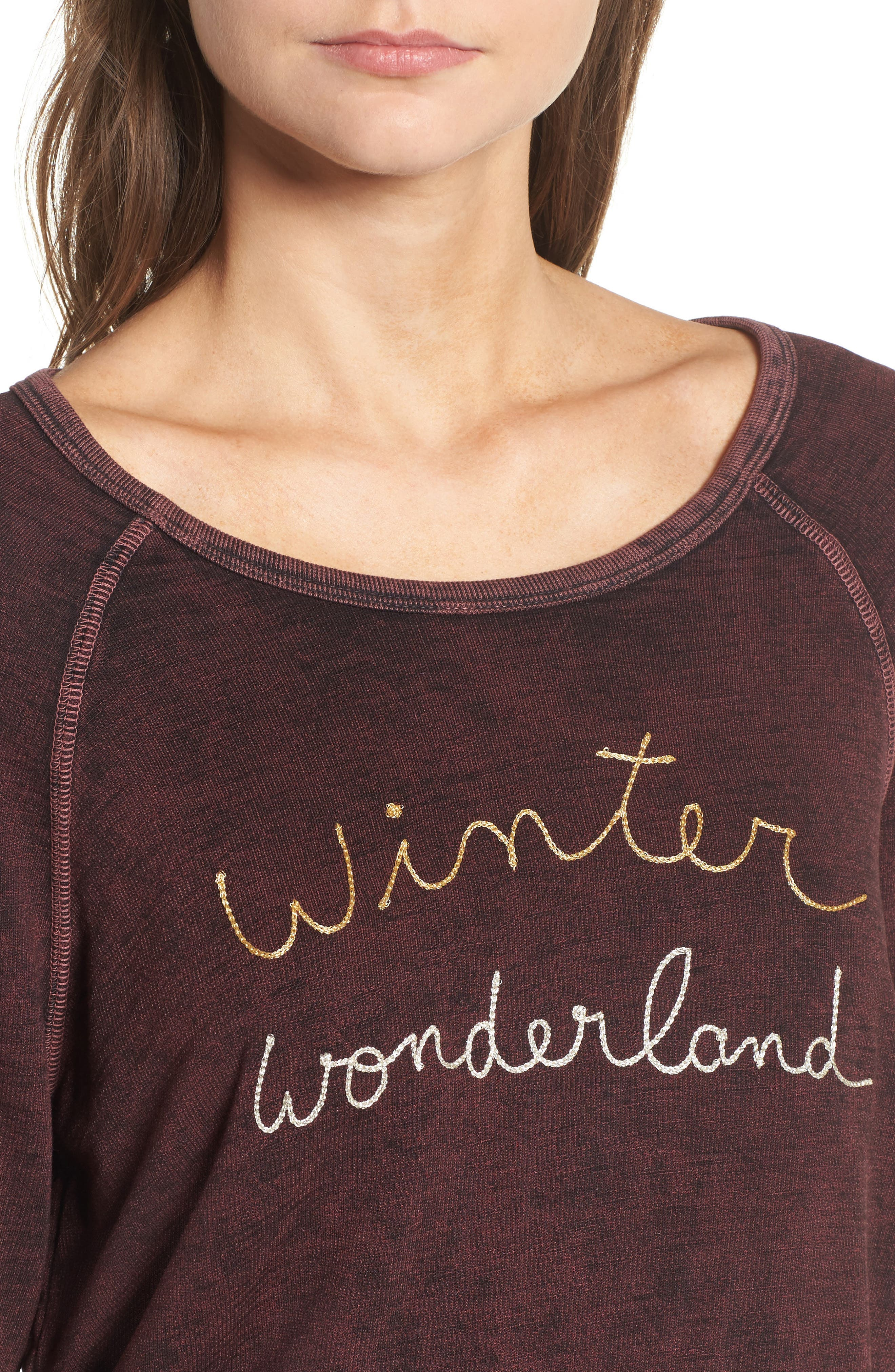 Active Winter Wonderland Sweatshirt,                             Alternate thumbnail 4, color,                             Burgundy Acid Wash