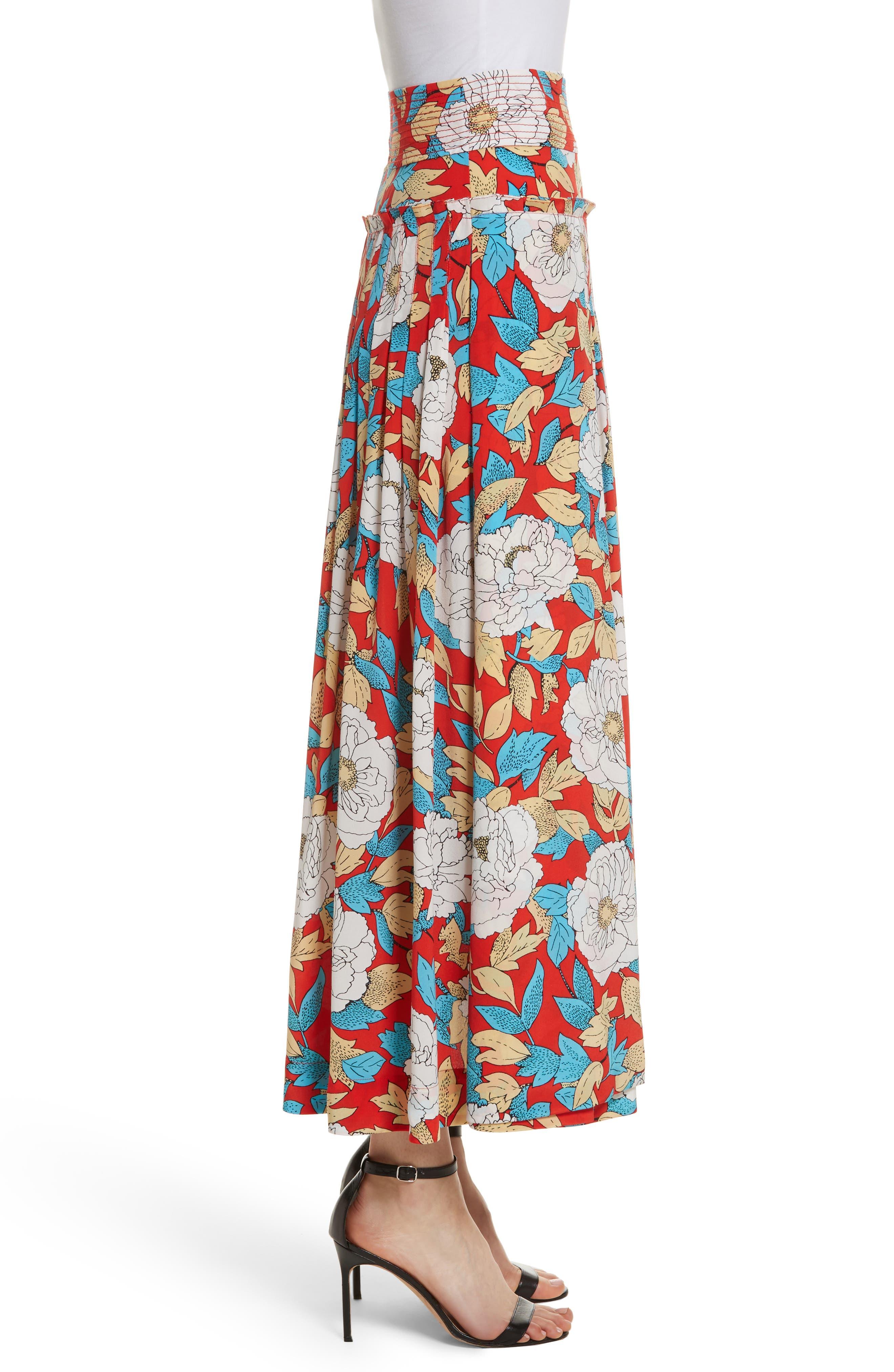 Diane von Furstenberg Floral Silk Midi Skirt,                             Alternate thumbnail 3, color,                             Boswell Poppy