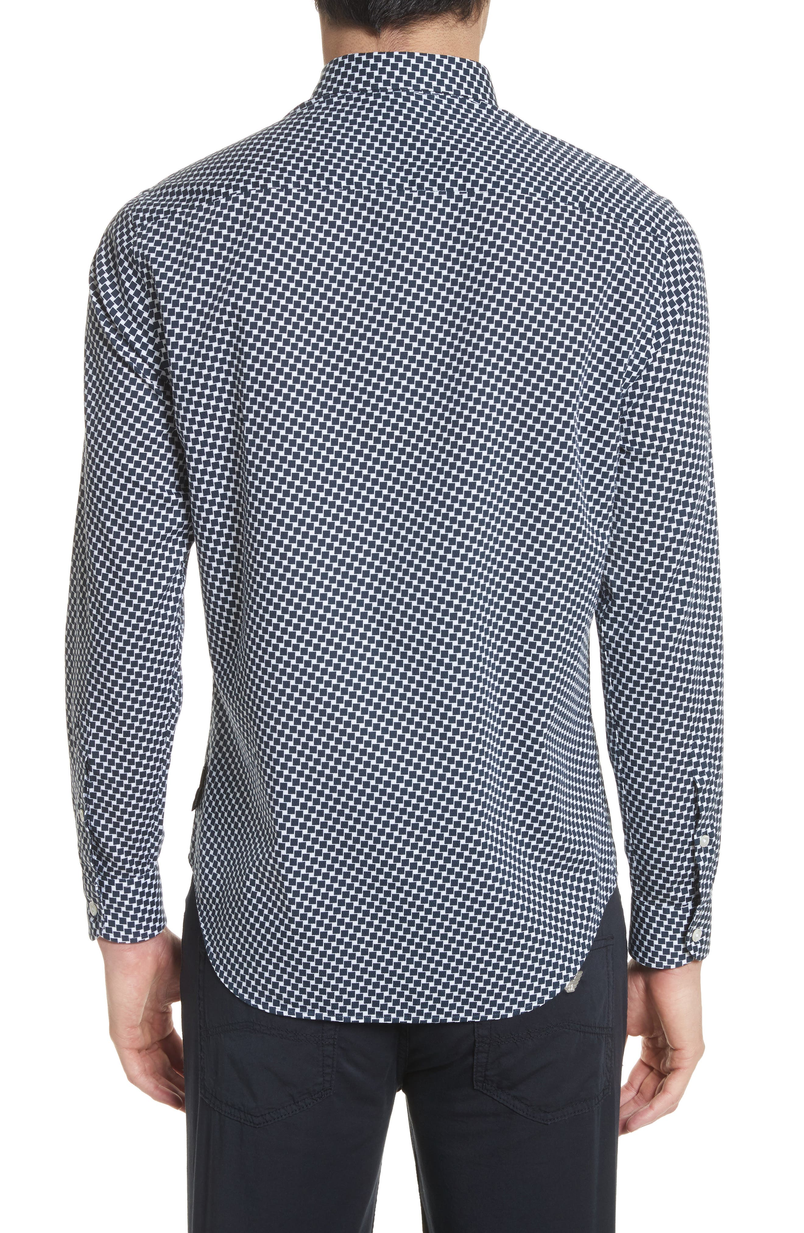 Rectangle Print Regular Fit Sport Shirt,                             Alternate thumbnail 2, color,                             Navy