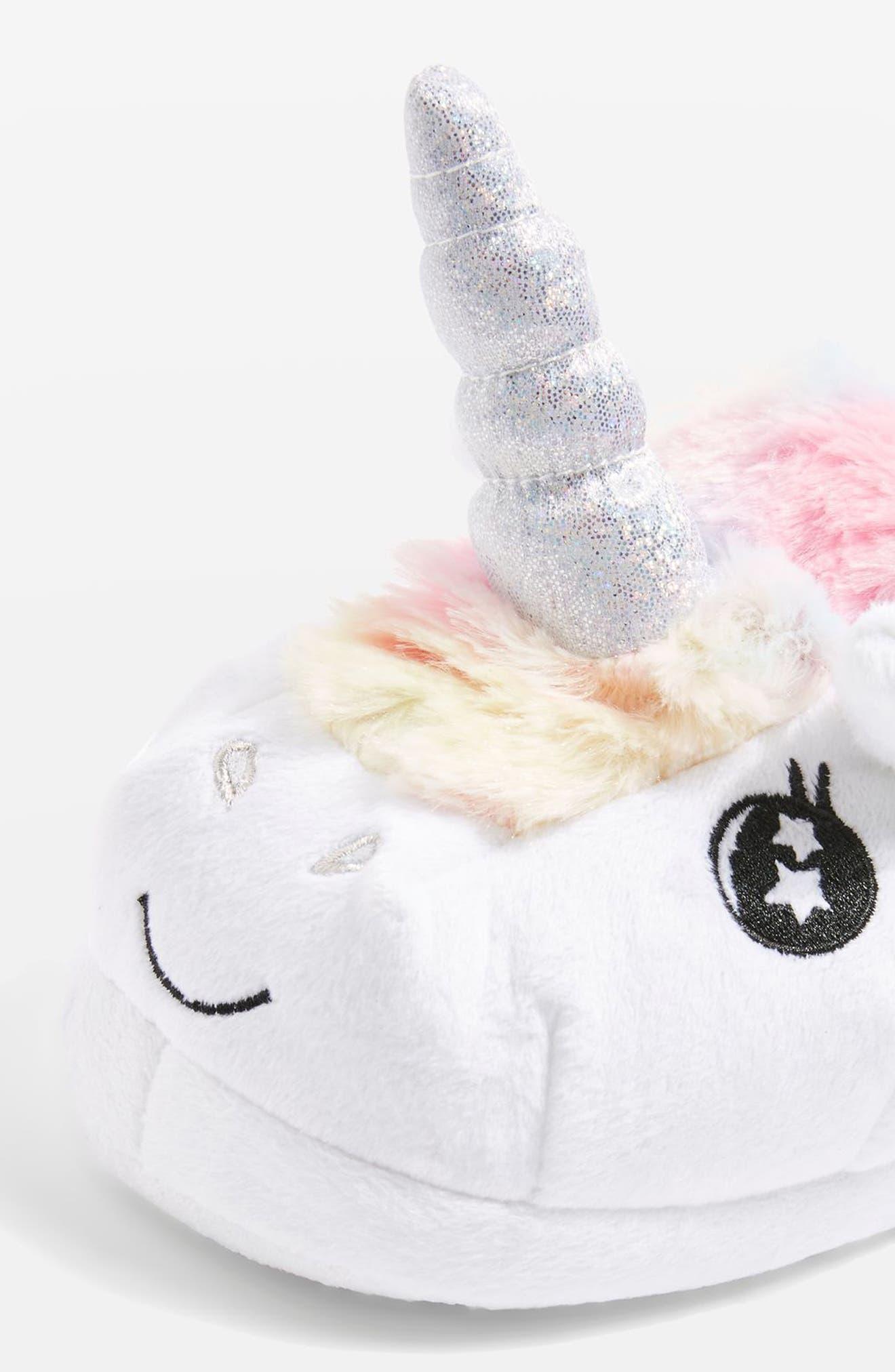 Mya Unicorn Slippers,                             Alternate thumbnail 3, color,                             White Multi