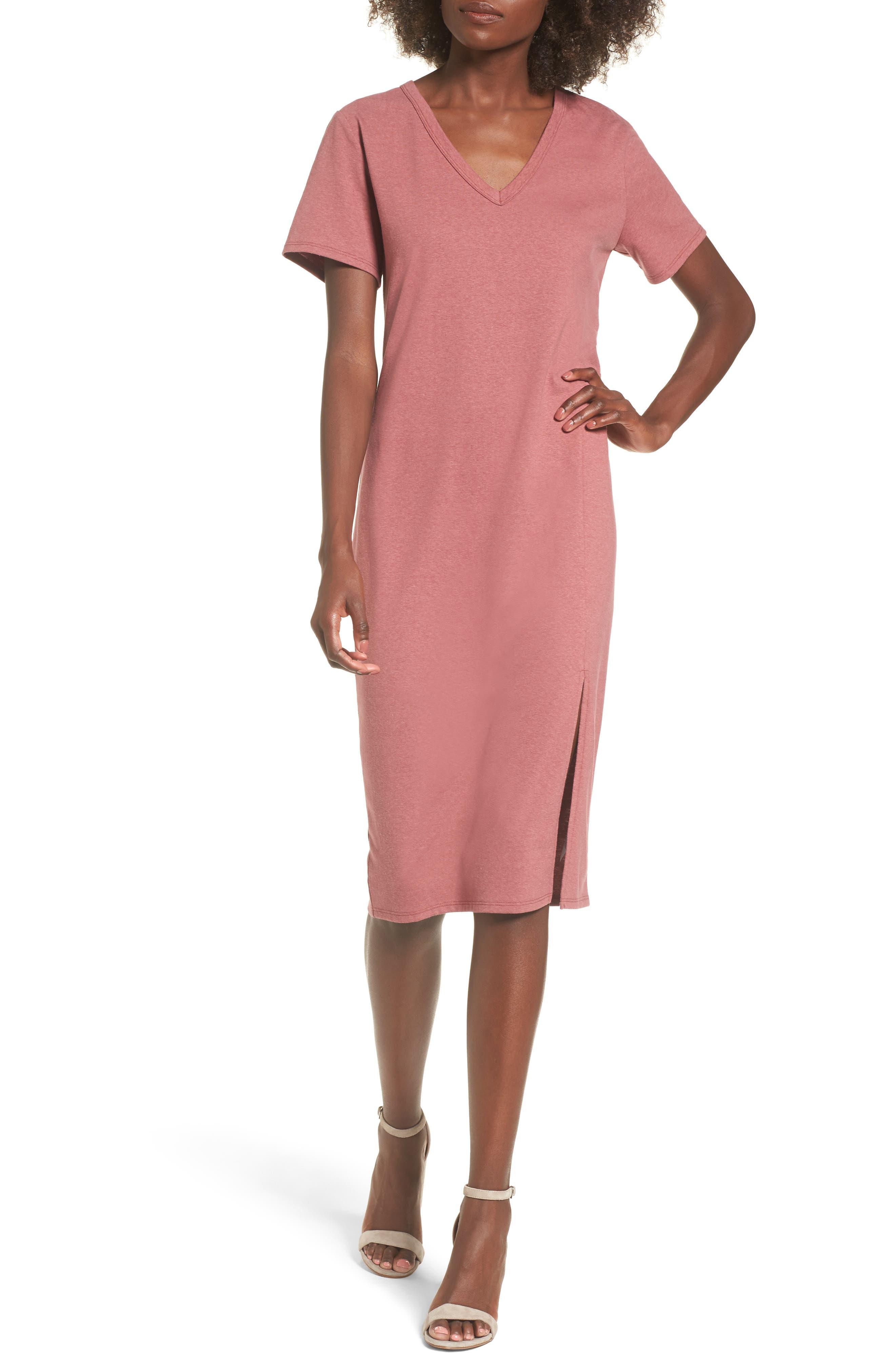 Knee Length T-Shirt Dress,                         Main,                         color, Burgundy Ginger