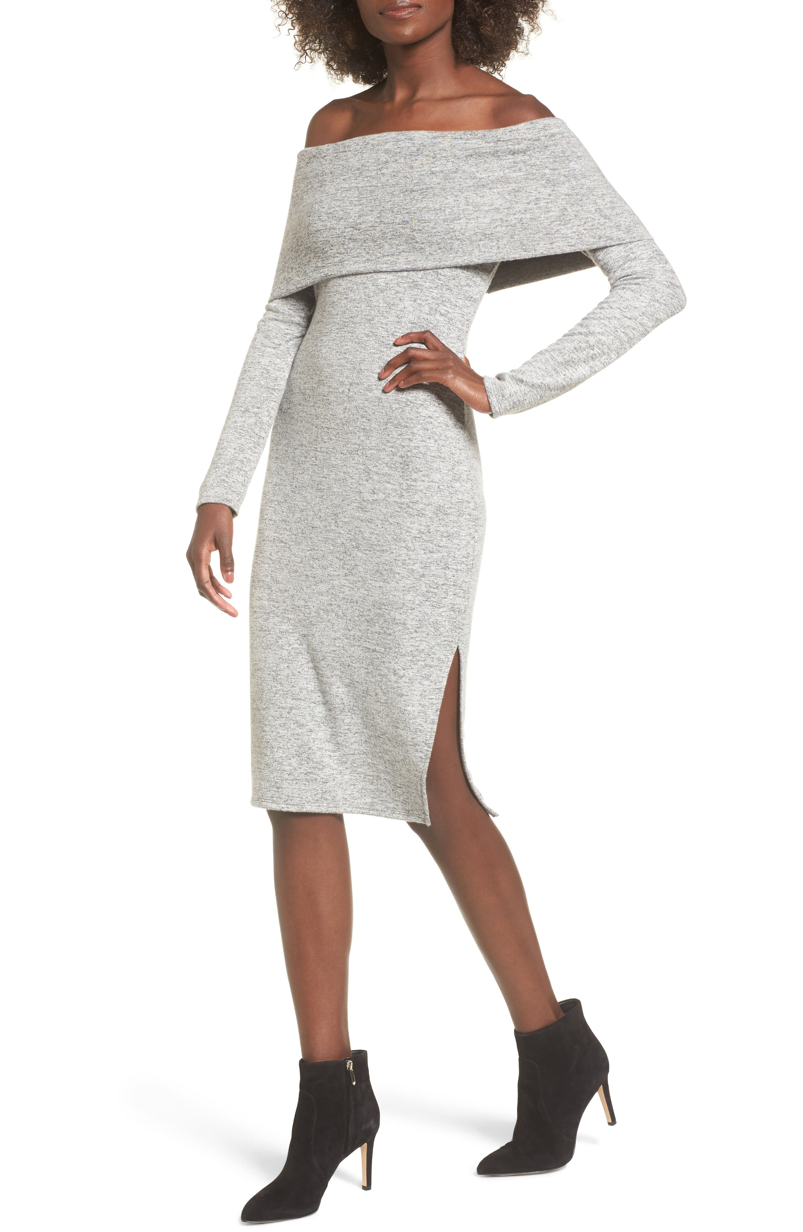 Off the Shoulder Sweater Dress,                         Main,                         color, H Grey
