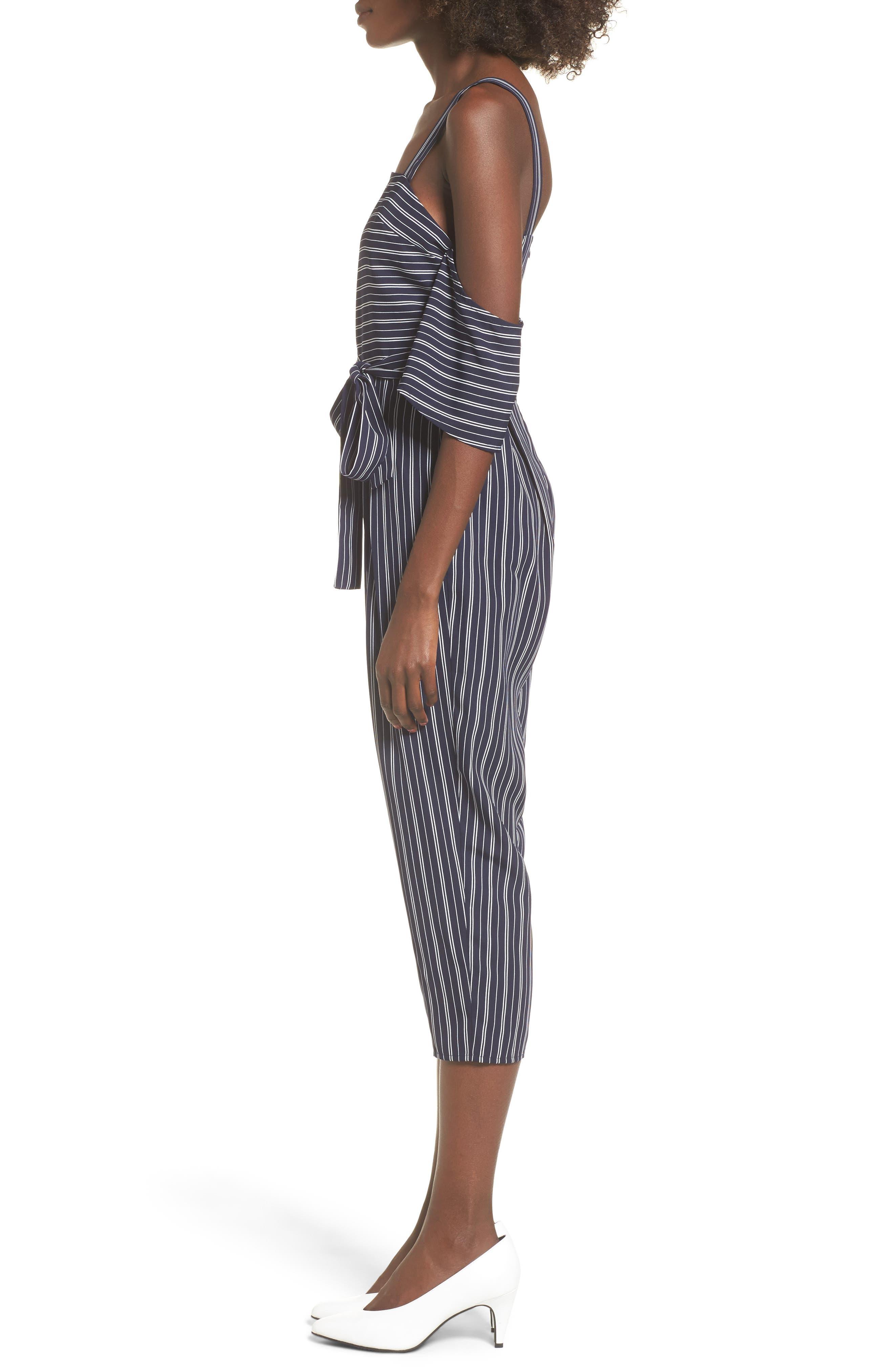 Stripe Off the Shoulder Crop Jumpsuit,                             Alternate thumbnail 3, color,                             Navy Ivory Stripe