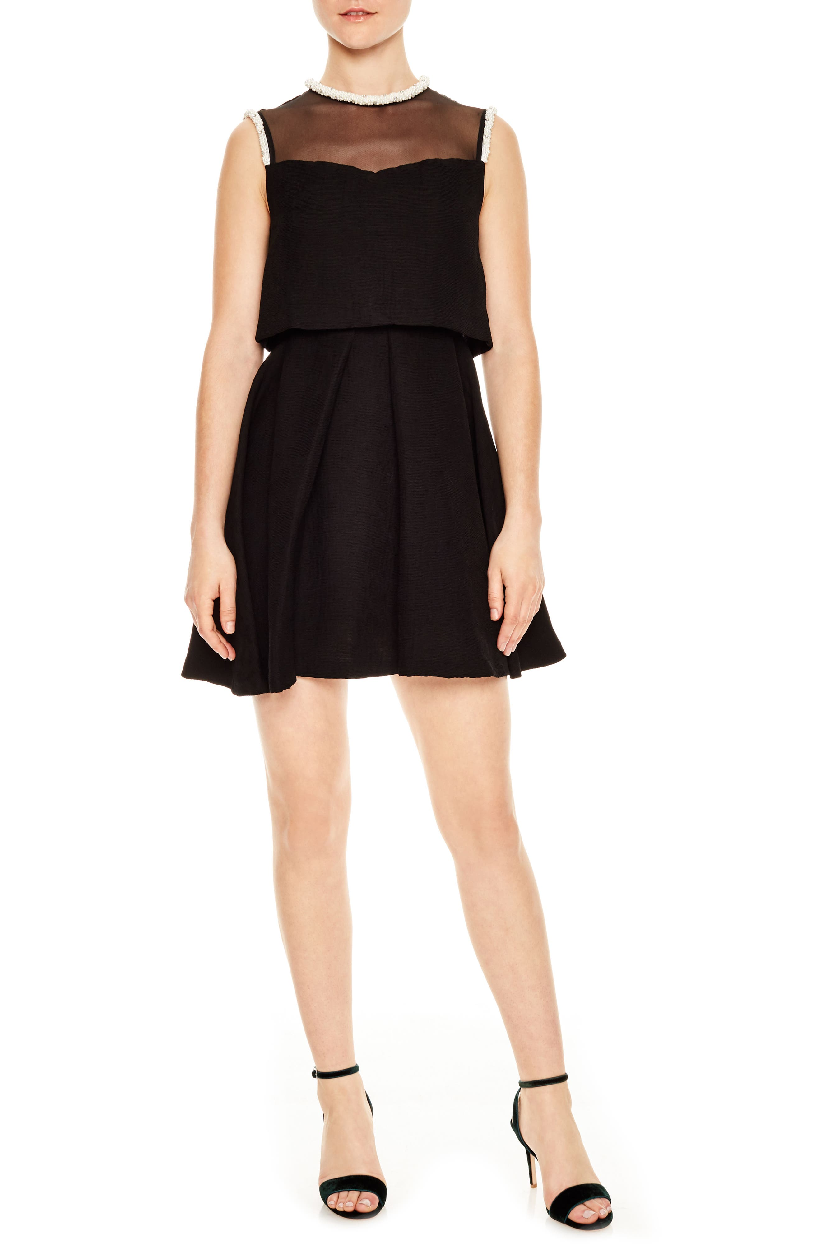 Ouma Jewel Neck Flare Dress,                             Main thumbnail 1, color,                             Black