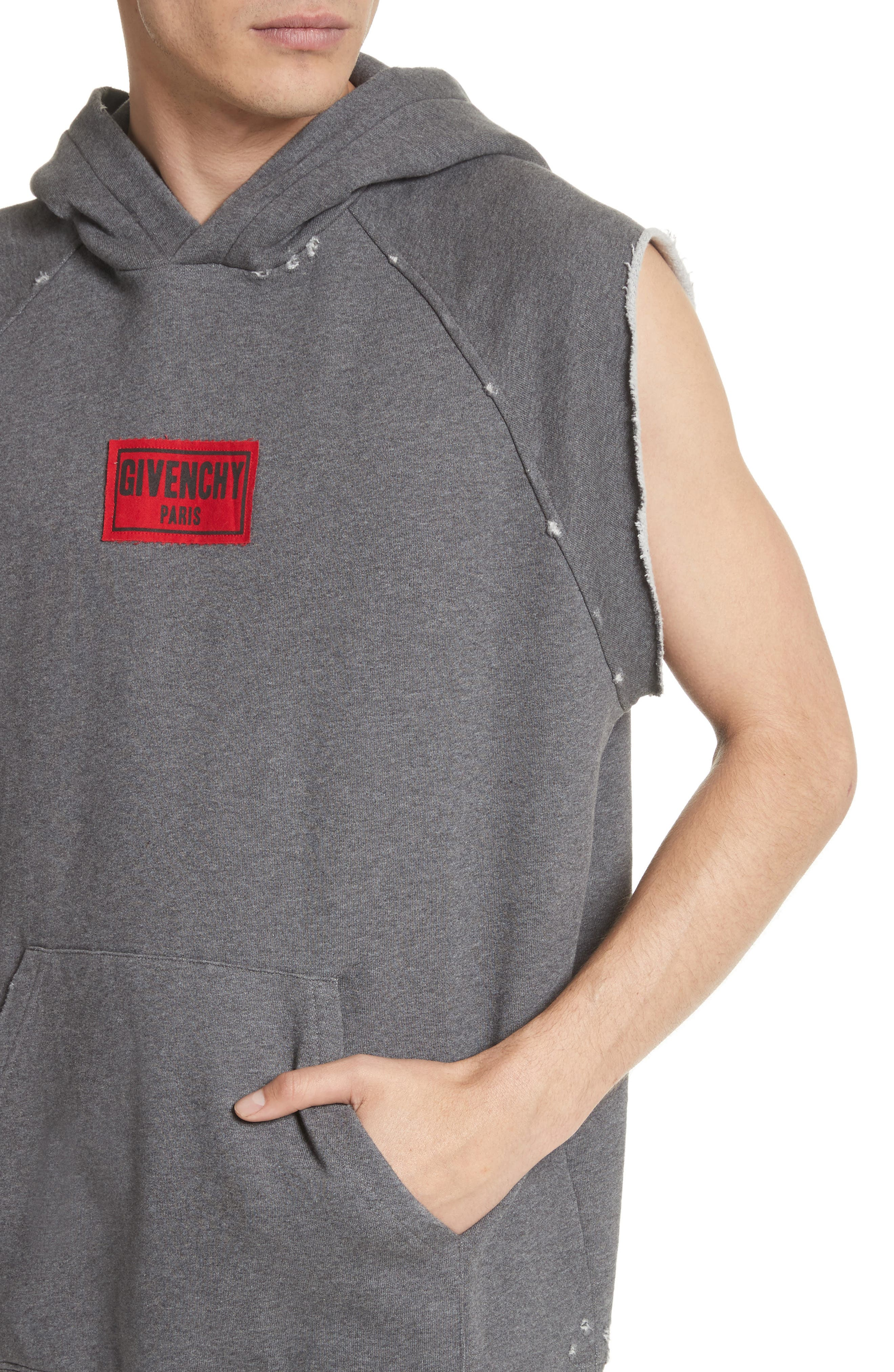 Small Logo Sleeveless Hoodie,                             Alternate thumbnail 4, color,                             Grey