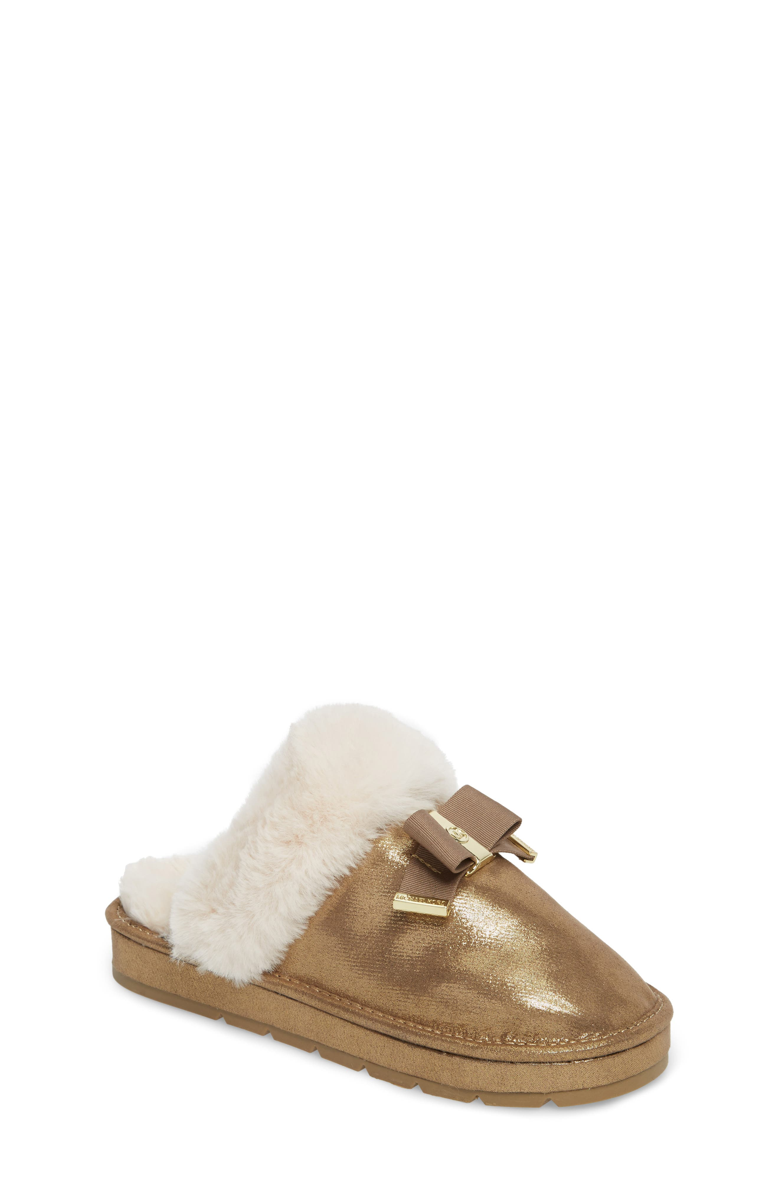 Alternate Image 1 Selected - MICHAEL Michael Kors Grace Bow Faux Fur Lined Mule (Toddler, Little Kid & Big Kid)