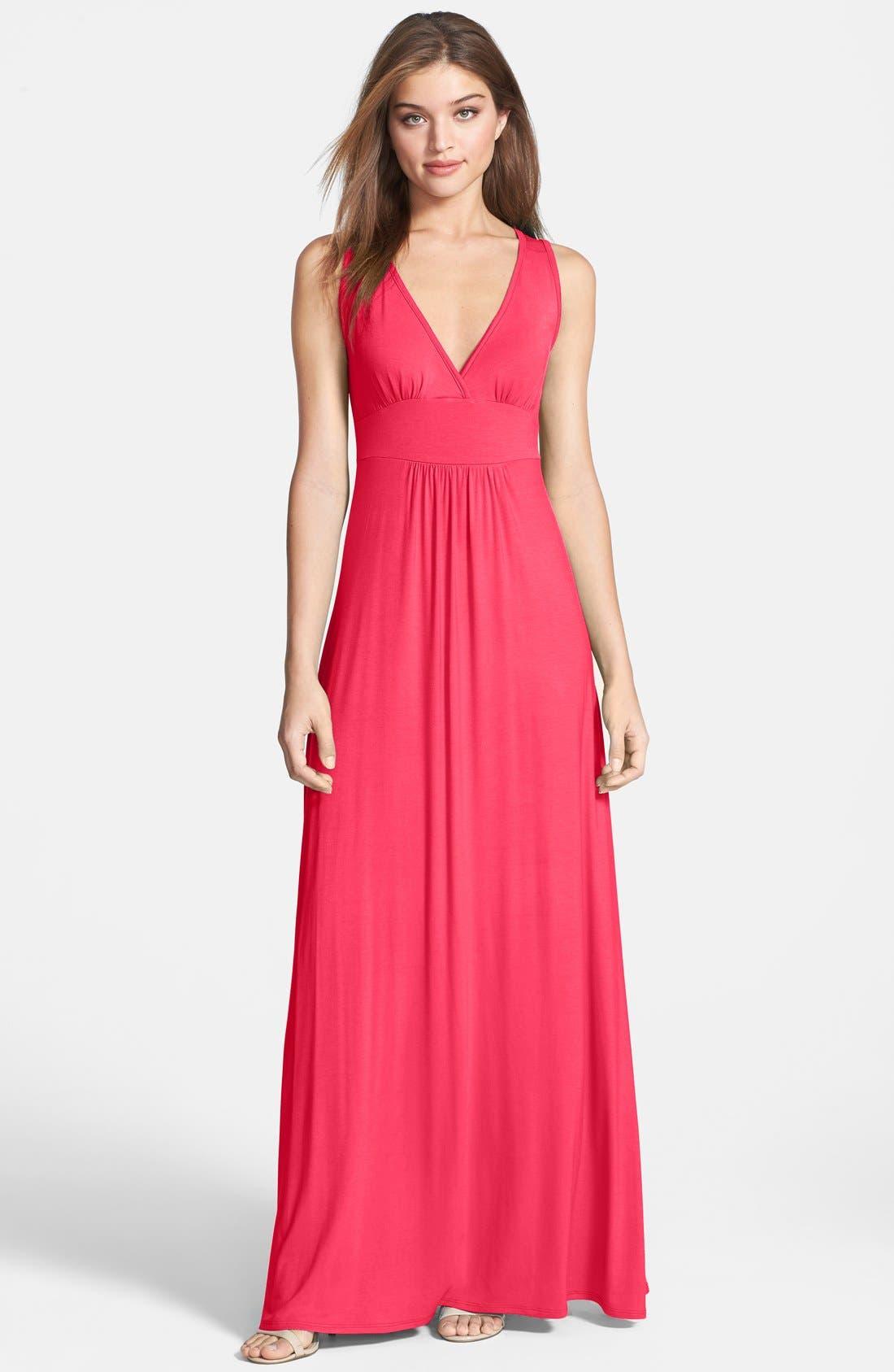 Main Image - Loveappella V-Neck Stretch Knit Maxi Dress