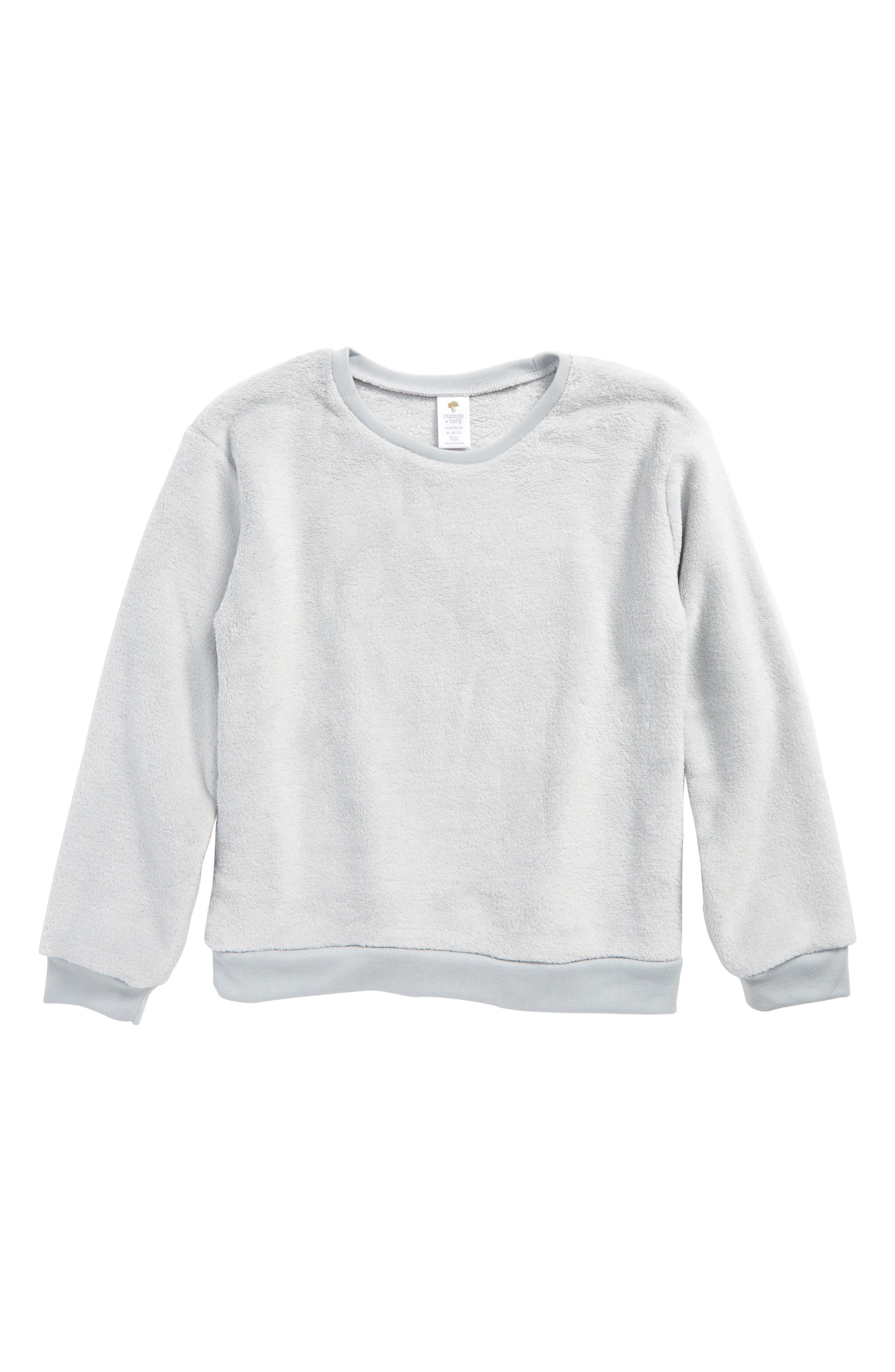 Fleece Sleep Tee,                             Main thumbnail 1, color,                             Grey Silk