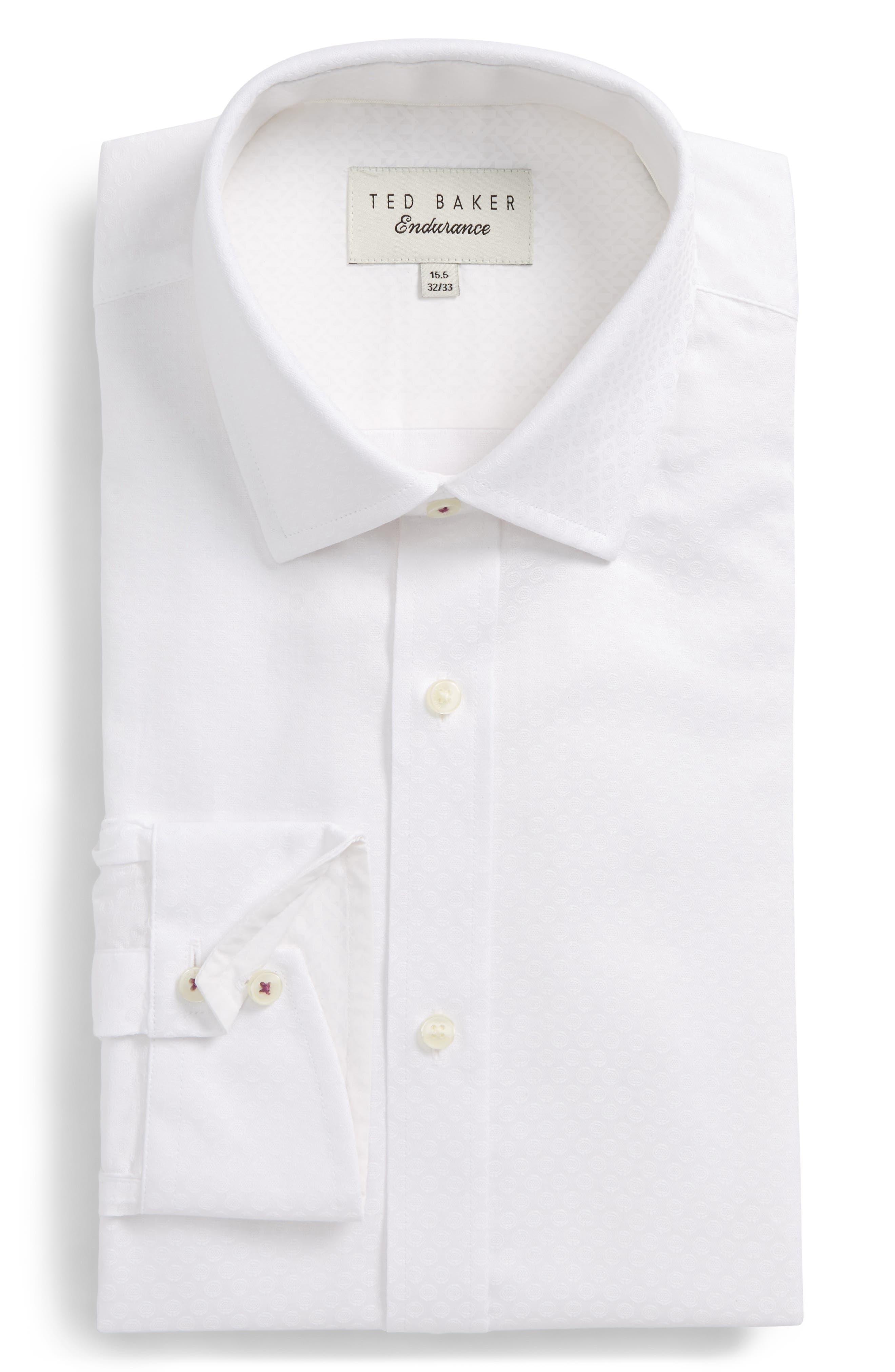 Catria Trim Fit Geometric Dress Shirt,                             Main thumbnail 1, color,                             White
