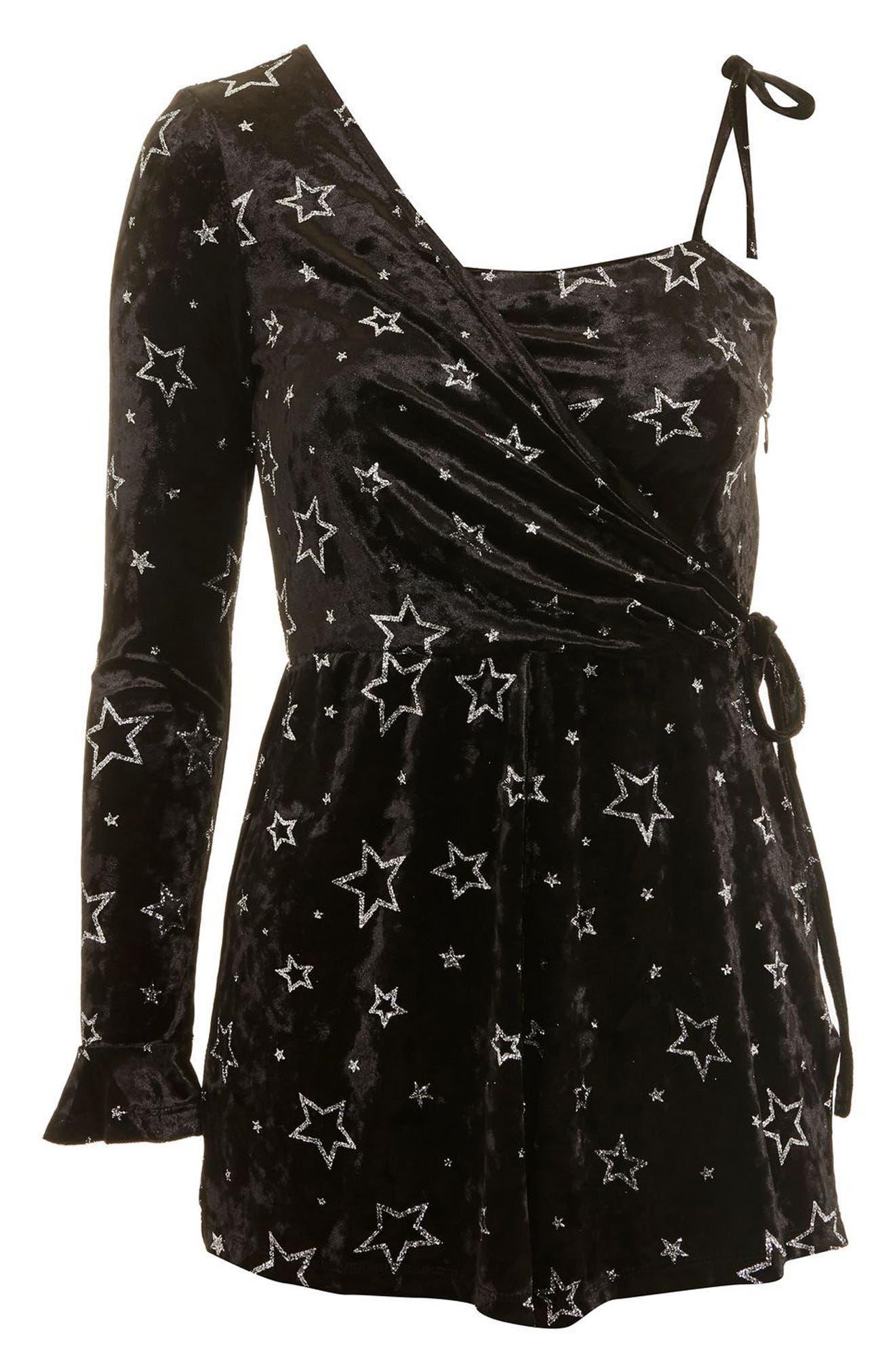 Foil Star Velvet One-Shoulder Romper,                             Alternate thumbnail 4, color,                             Black