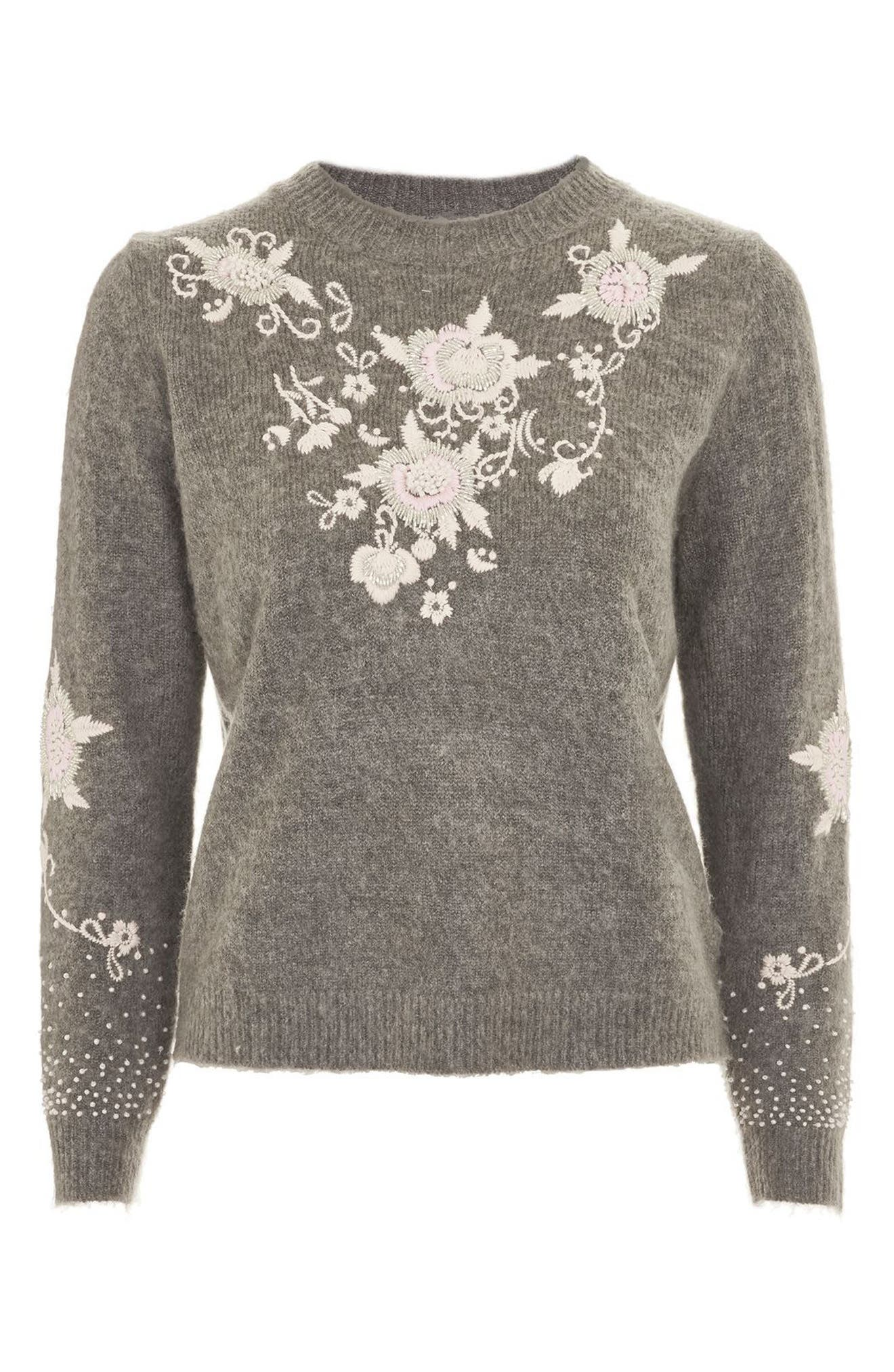 Beaded Embroidered Sweater,                             Alternate thumbnail 3, color,                             Grey Marl Multi
