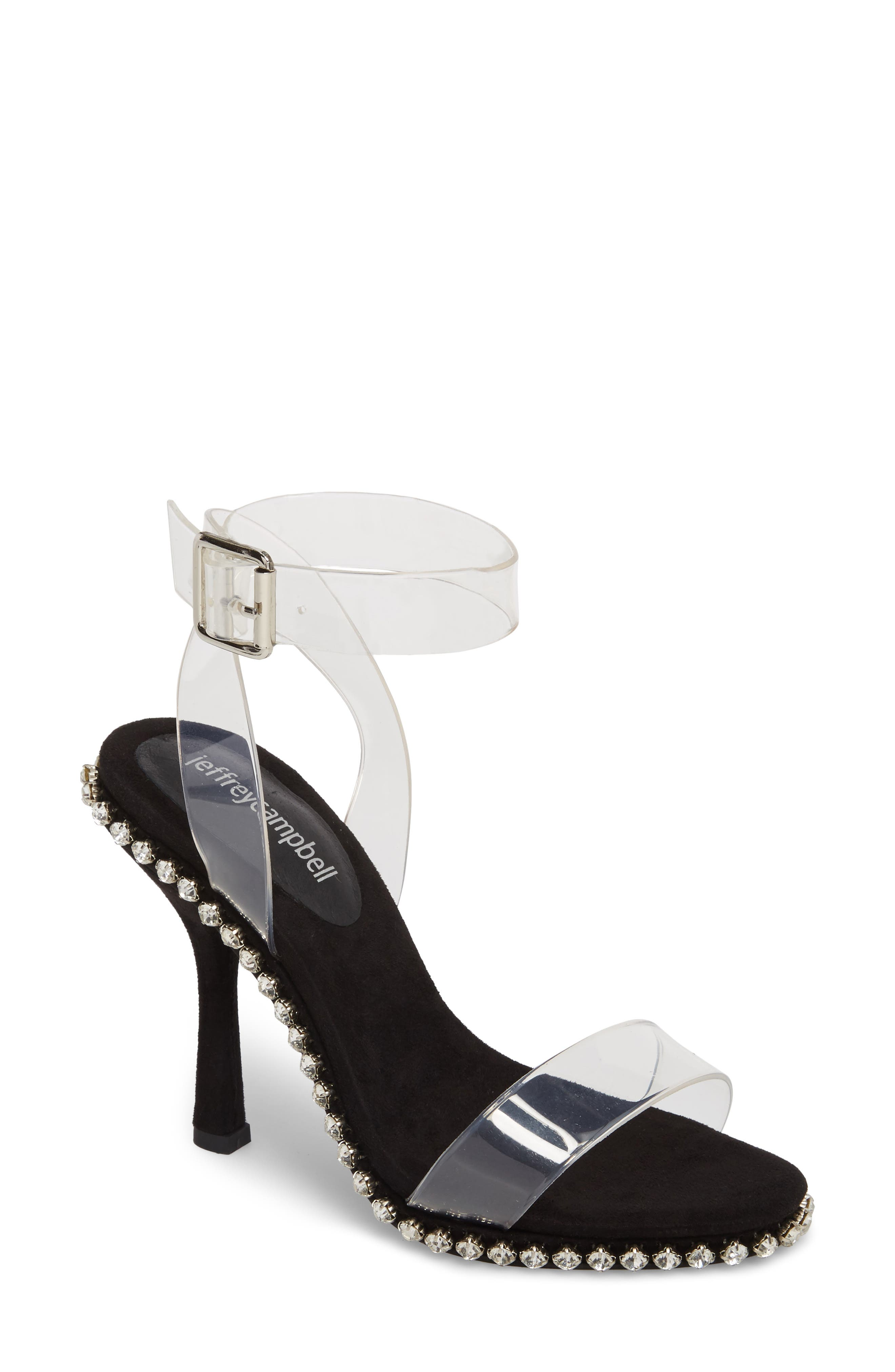 Charmed Sandal,                         Main,                         color, Black Suede-Clear