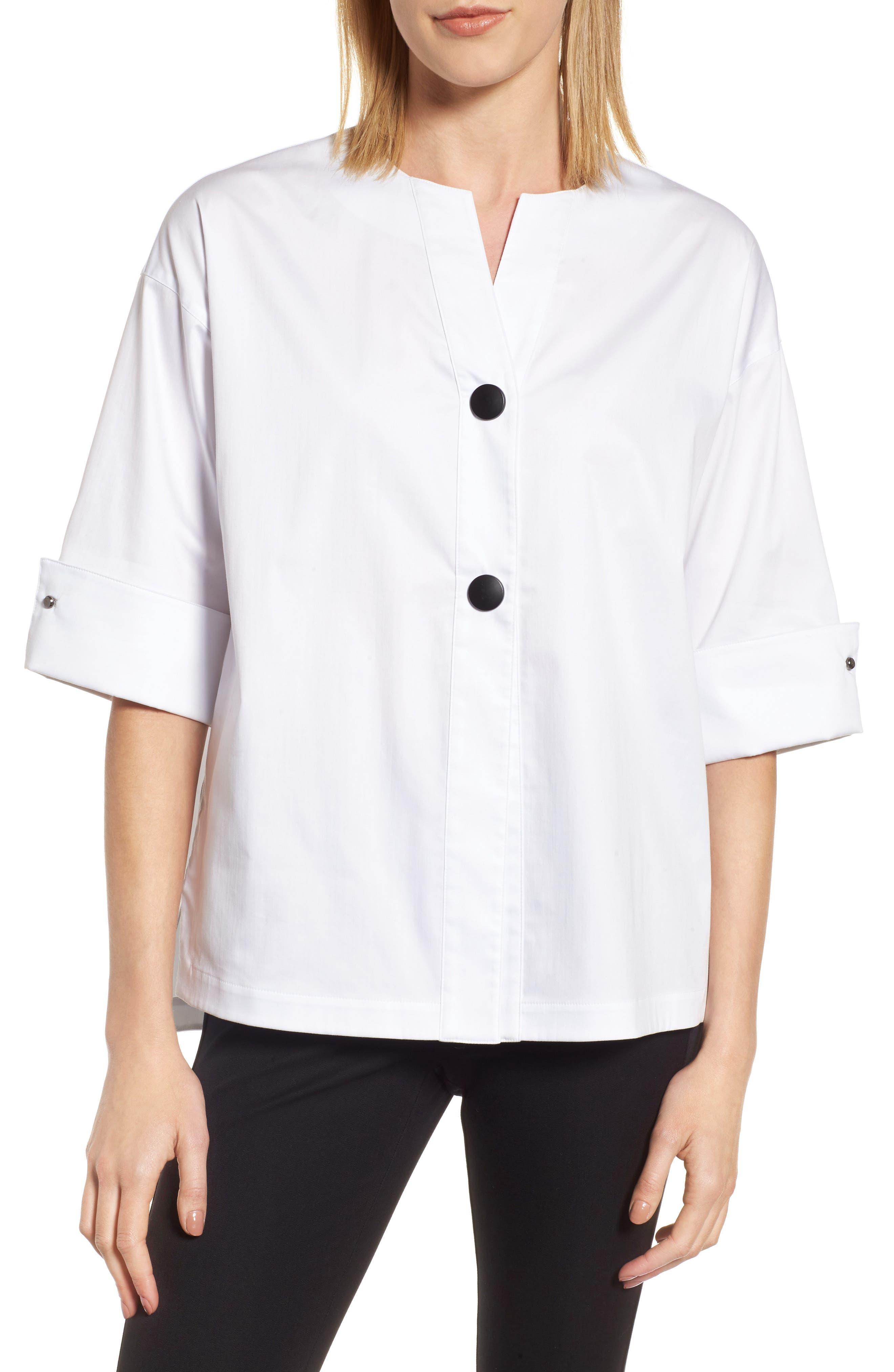 Woven Shirt Jacket,                         Main,                         color, White