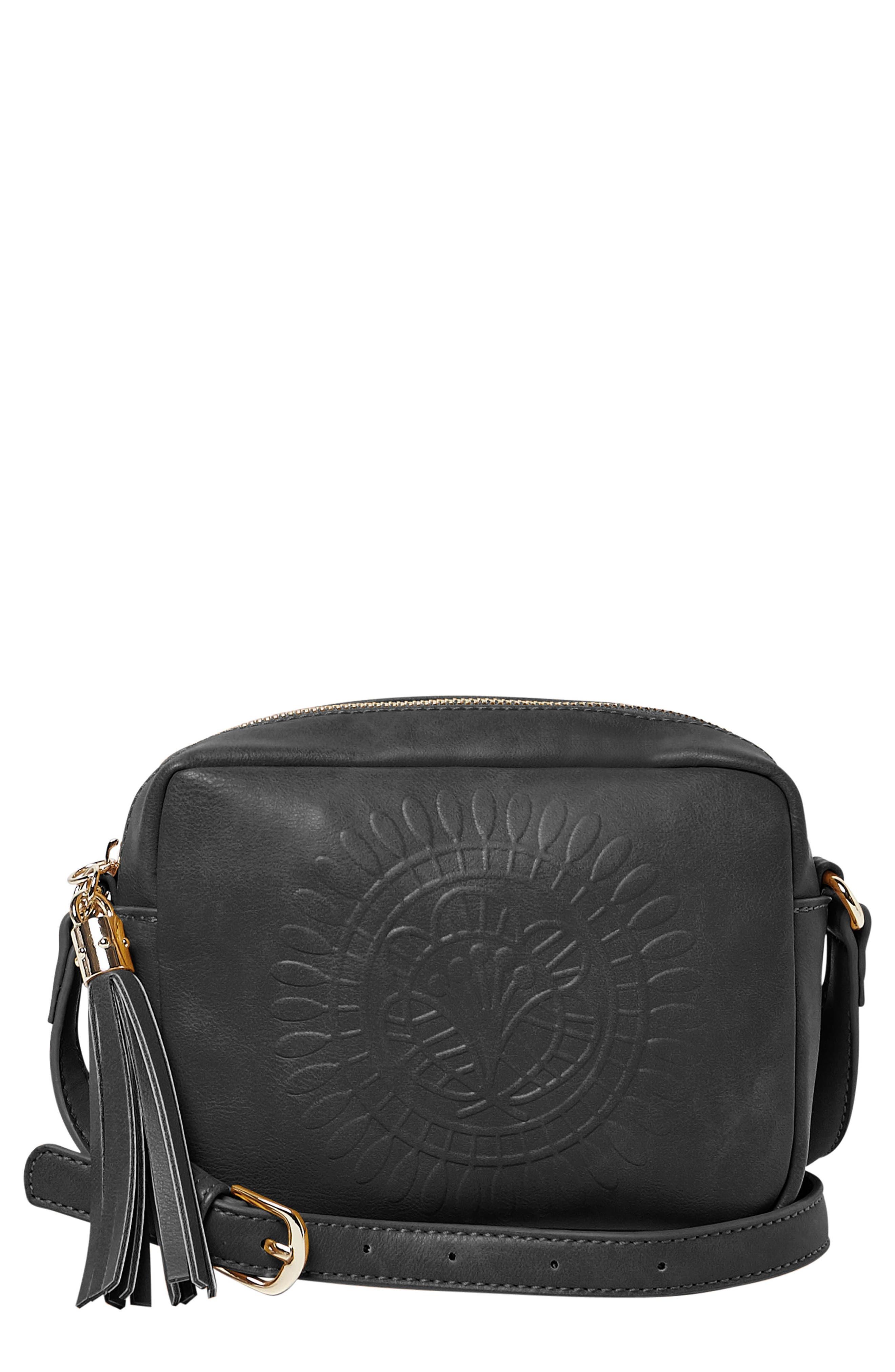 Wild Rose Embossed Vegan Leather Shoulder Bag,                         Main,                         color, Black