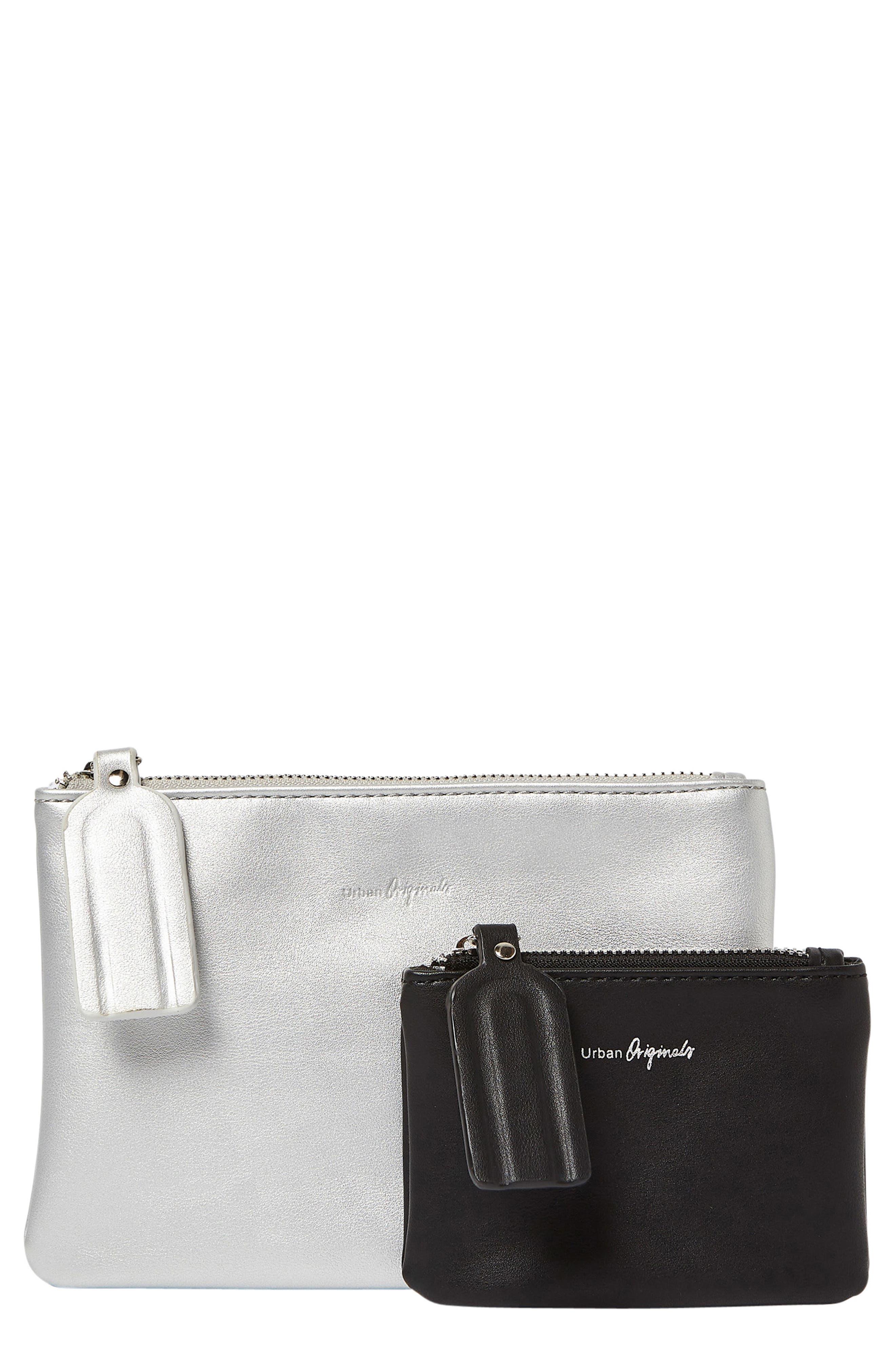 Dreamer 2-Pack Vegan Leather Card Cases,                             Main thumbnail 1, color,                             Black/ Silver