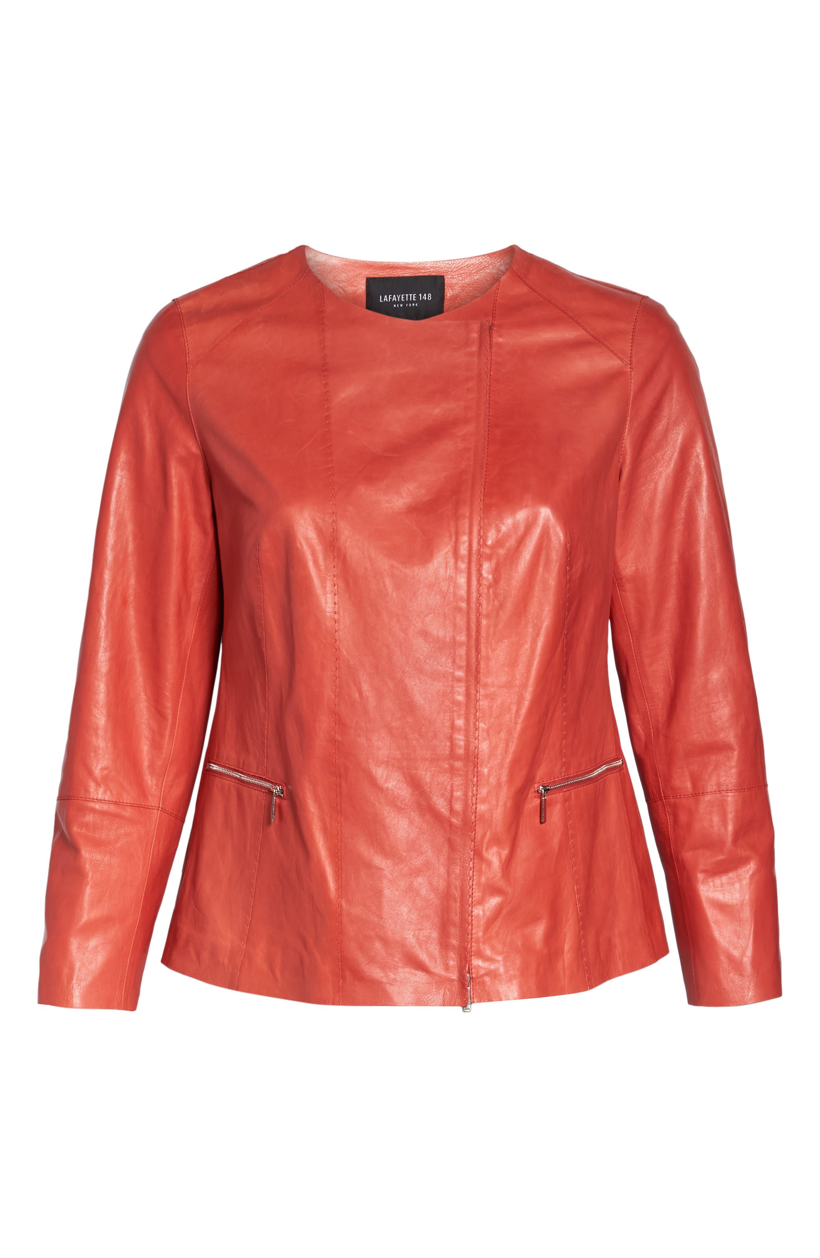 Alternate Image 6  - Lafayette 148 New York Caridee Glazed Lambskin Leather Jacket (Plus Size)