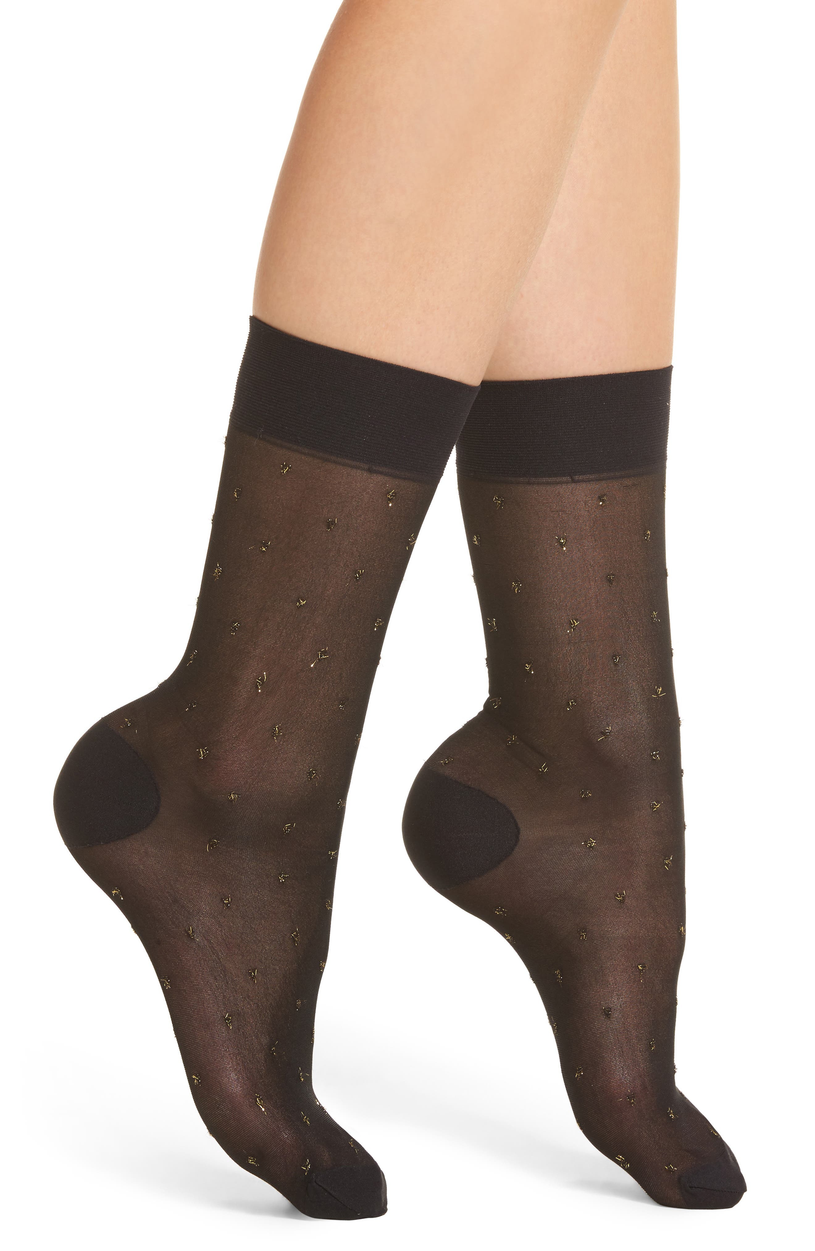 Gold Dot Sheer Socks,                         Main,                         color, Black
