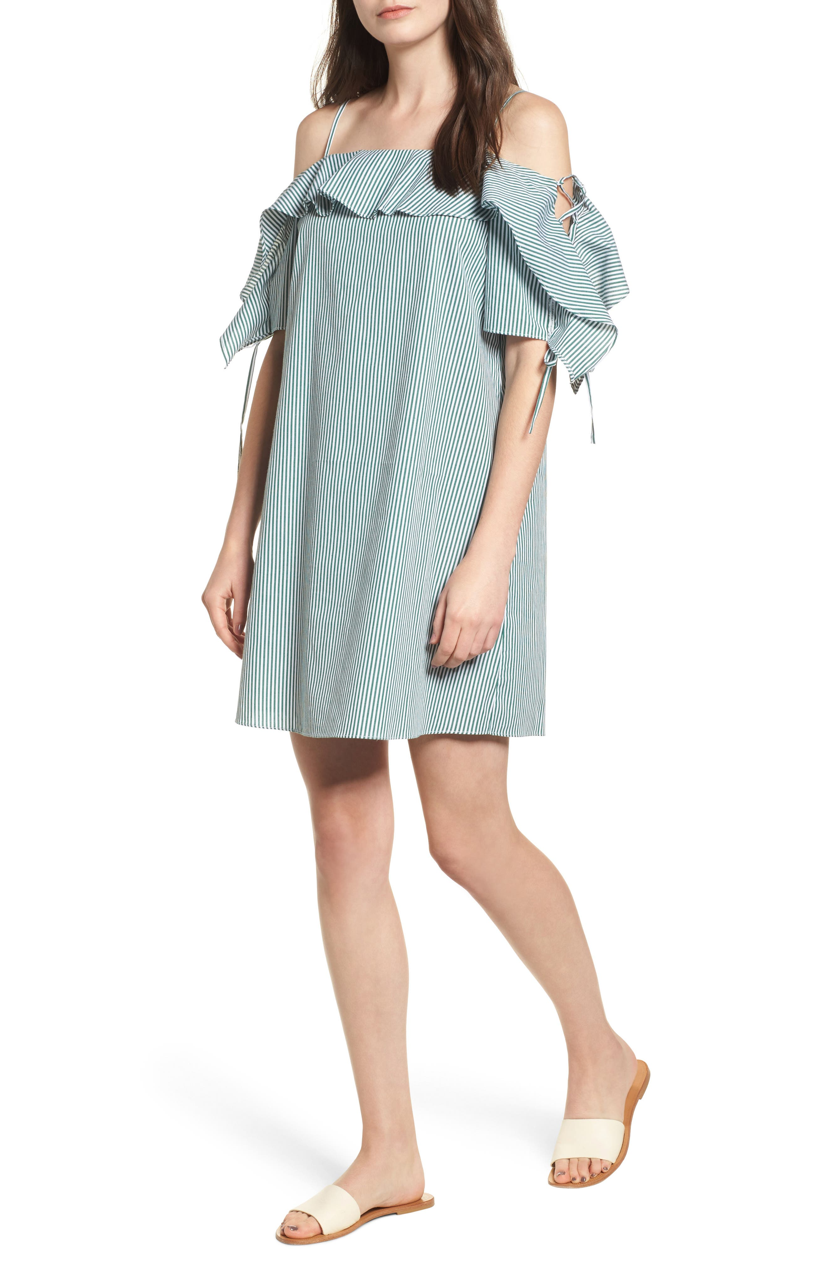 Ruffle Cold Shoulder Shift Dress,                         Main,                         color, Pine