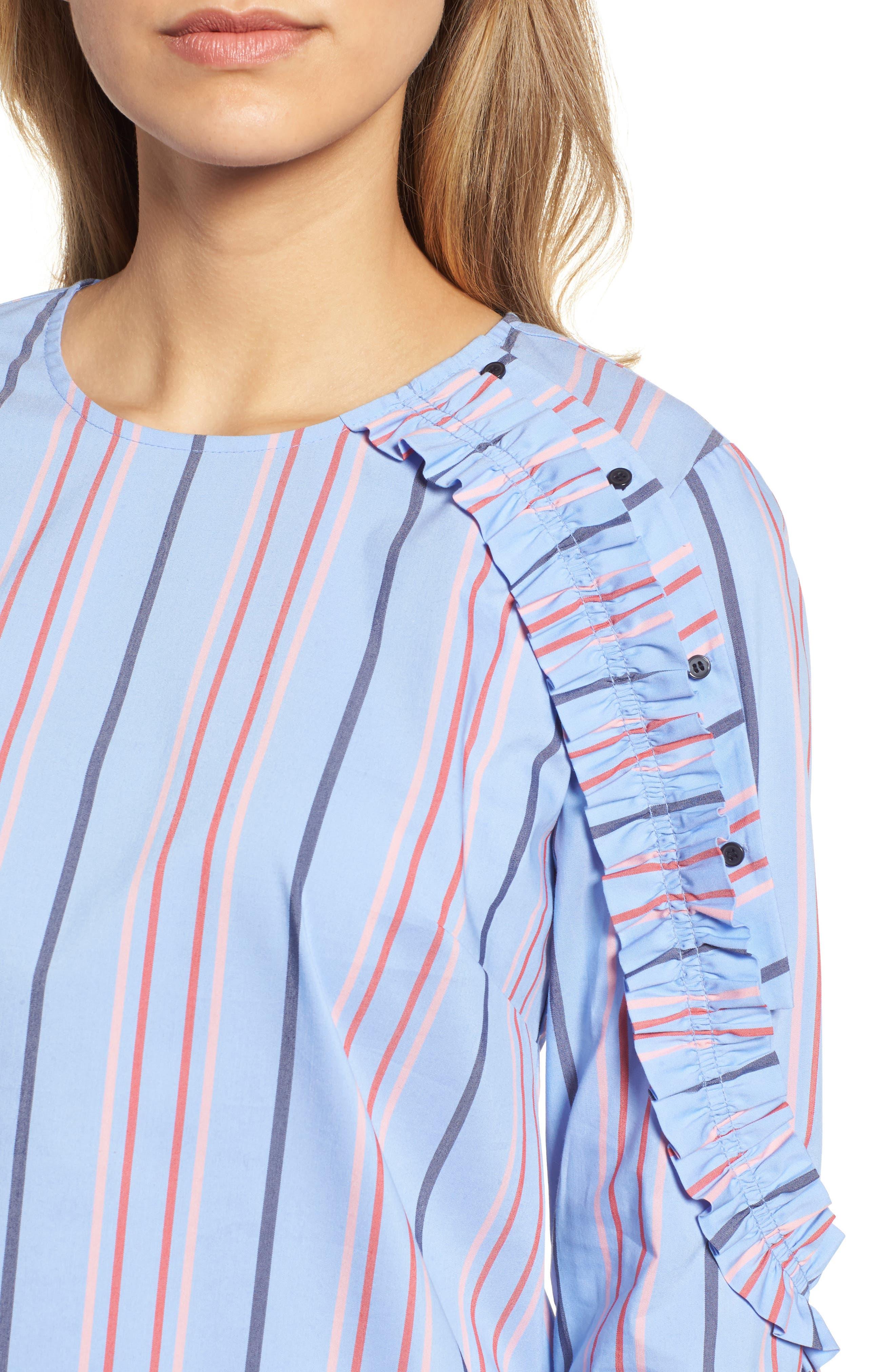 Ruffle Detail Poplin Shirt,                             Alternate thumbnail 4, color,                             Blue Multi Stripe