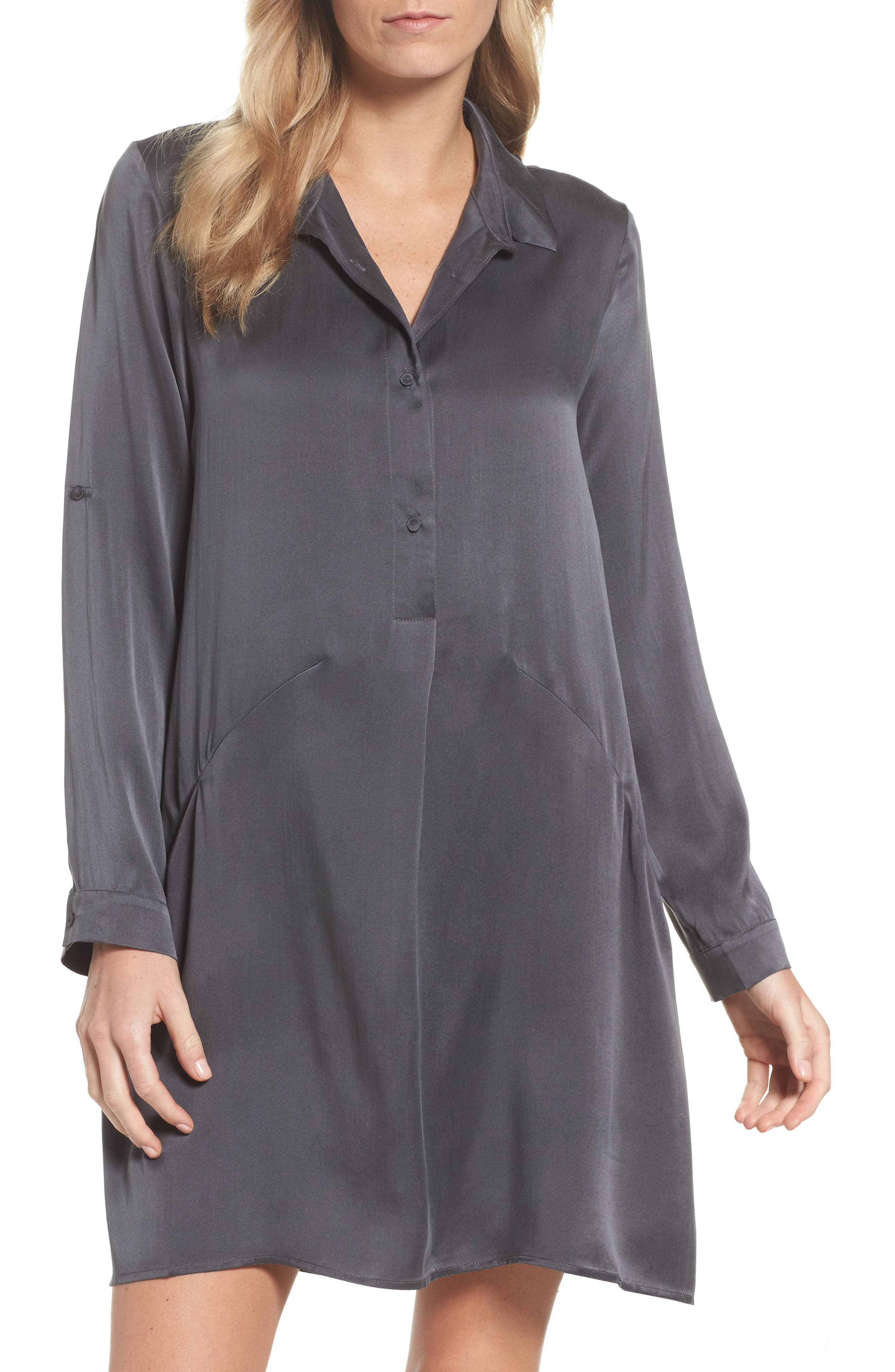 Silk Sleep Shirt,                         Main,                         color, Dark Slate