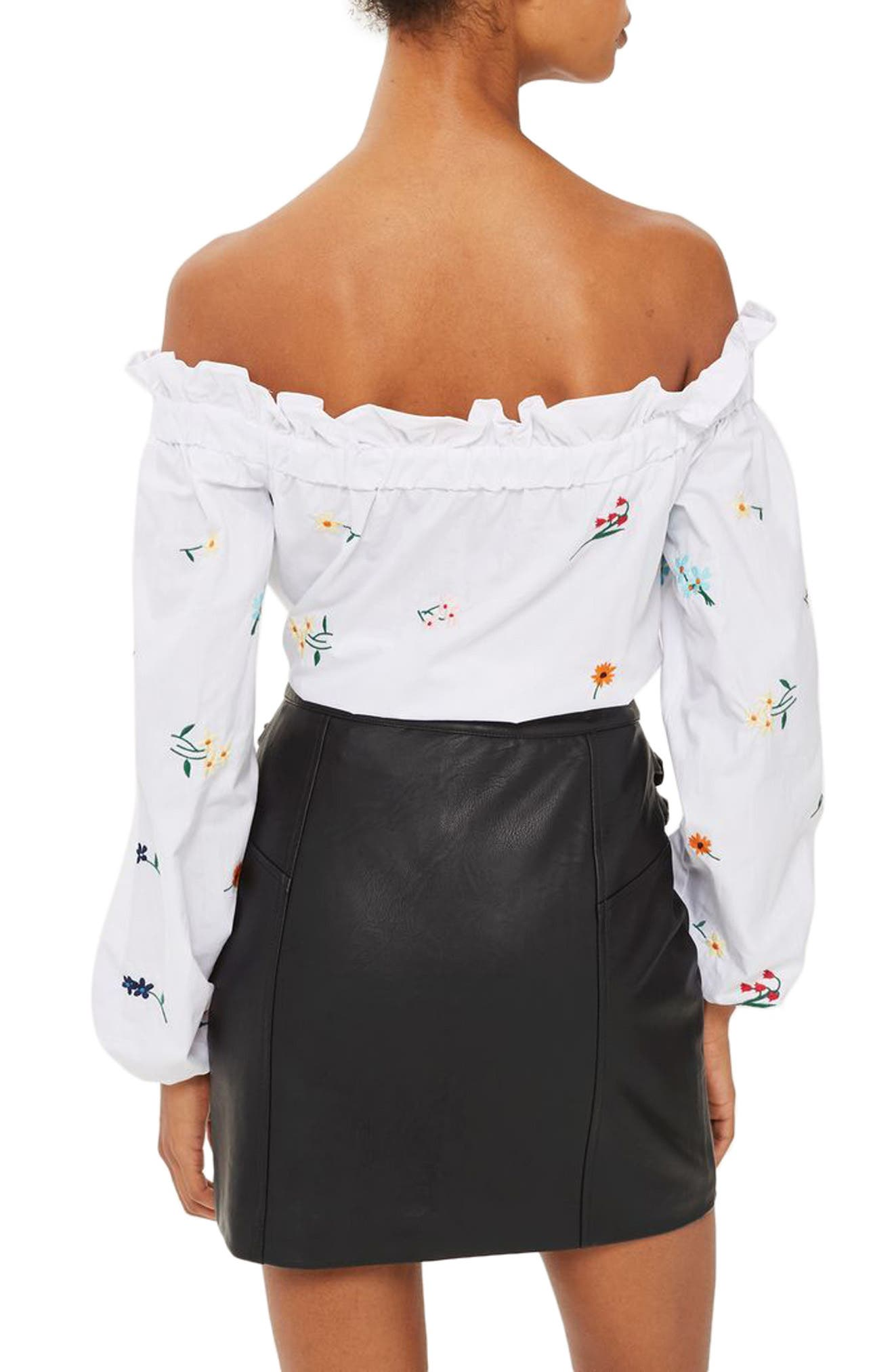 Alternate Image 2  - Topshop Double Buckle Faux Leather Miniskirt