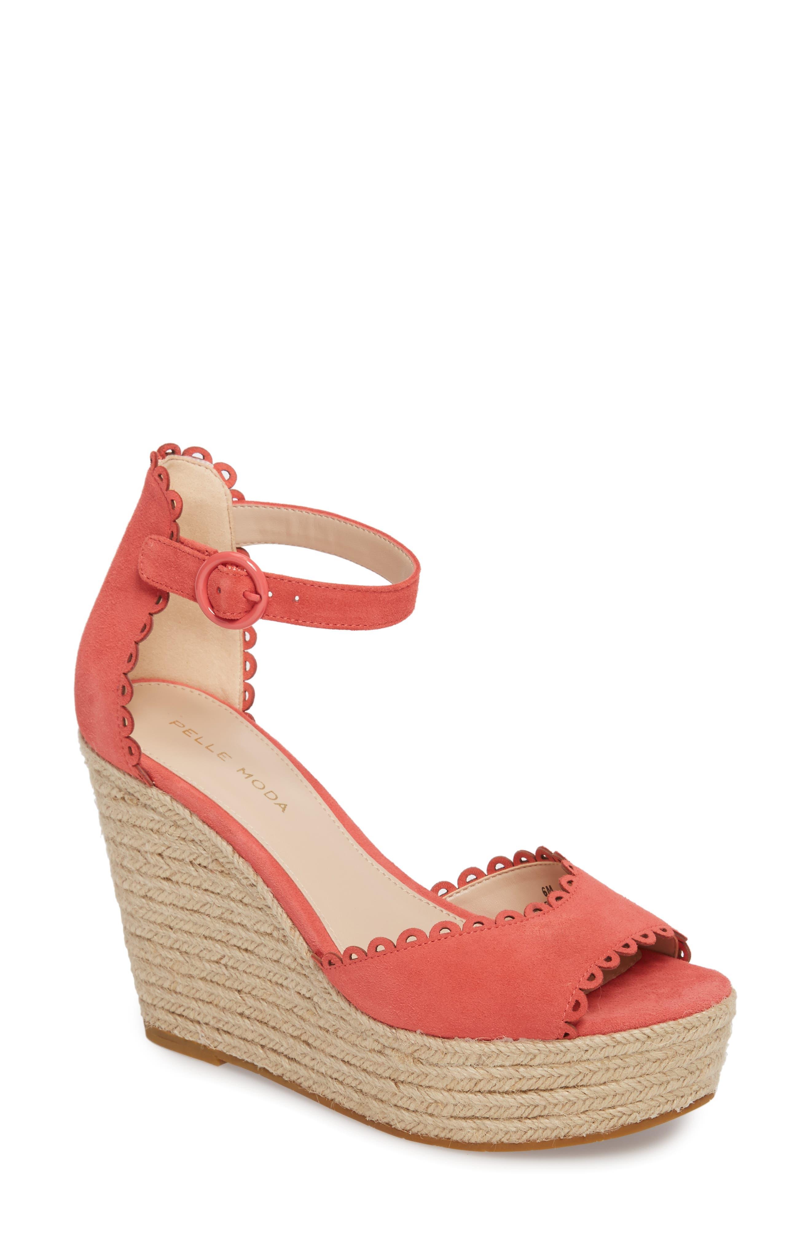 Raine Platform Espadrille Sandal,                             Main thumbnail 1, color,                             Flamingo Suede