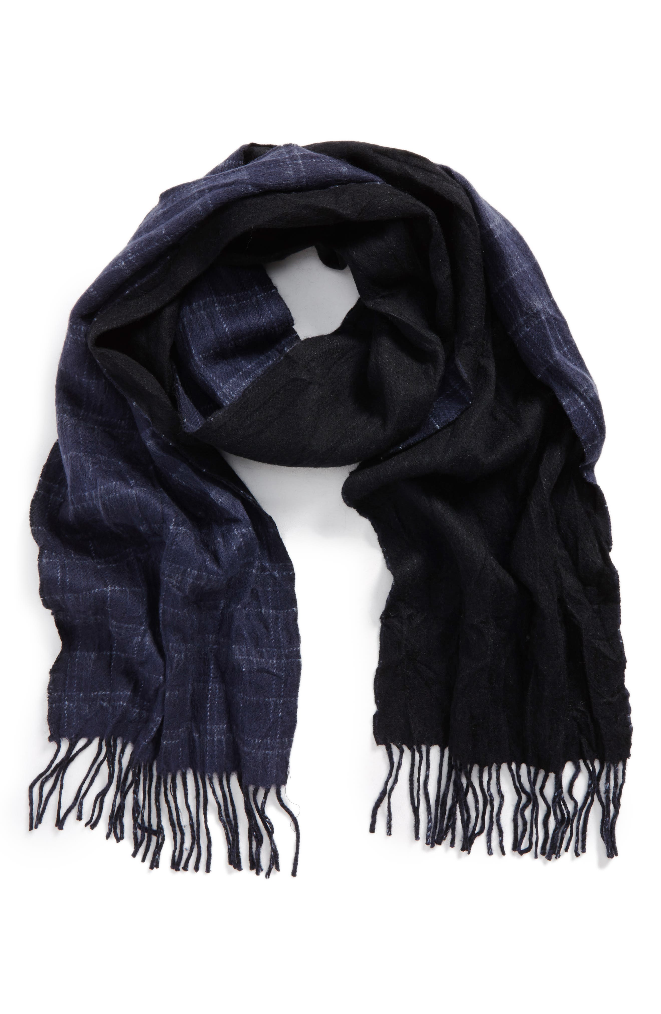Double Face Windowpane Wool Scarf,                         Main,                         color, Midnight