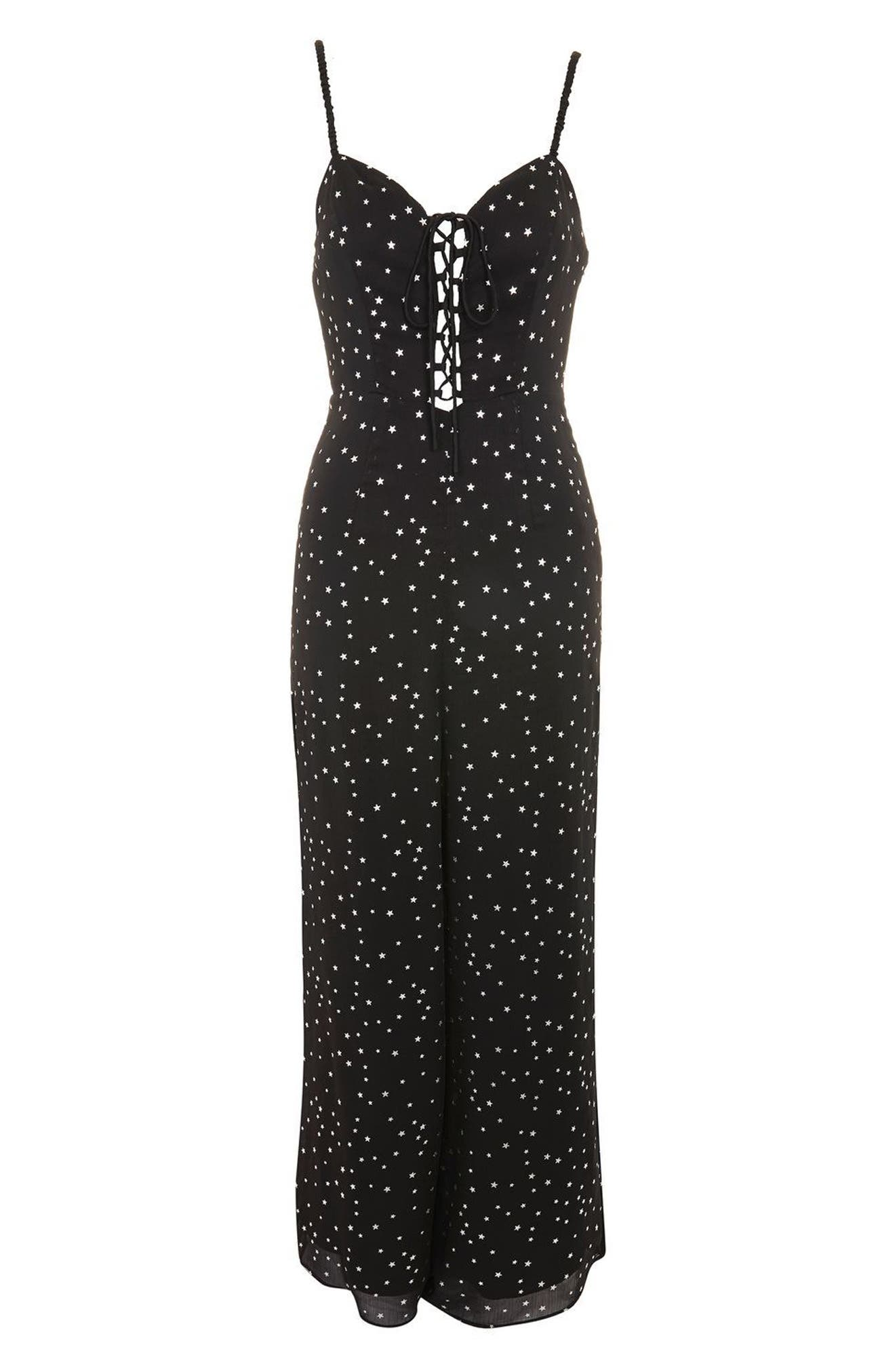 Foil Star Lace-Up Jumpsuit,                             Alternate thumbnail 4, color,                             Black Multi