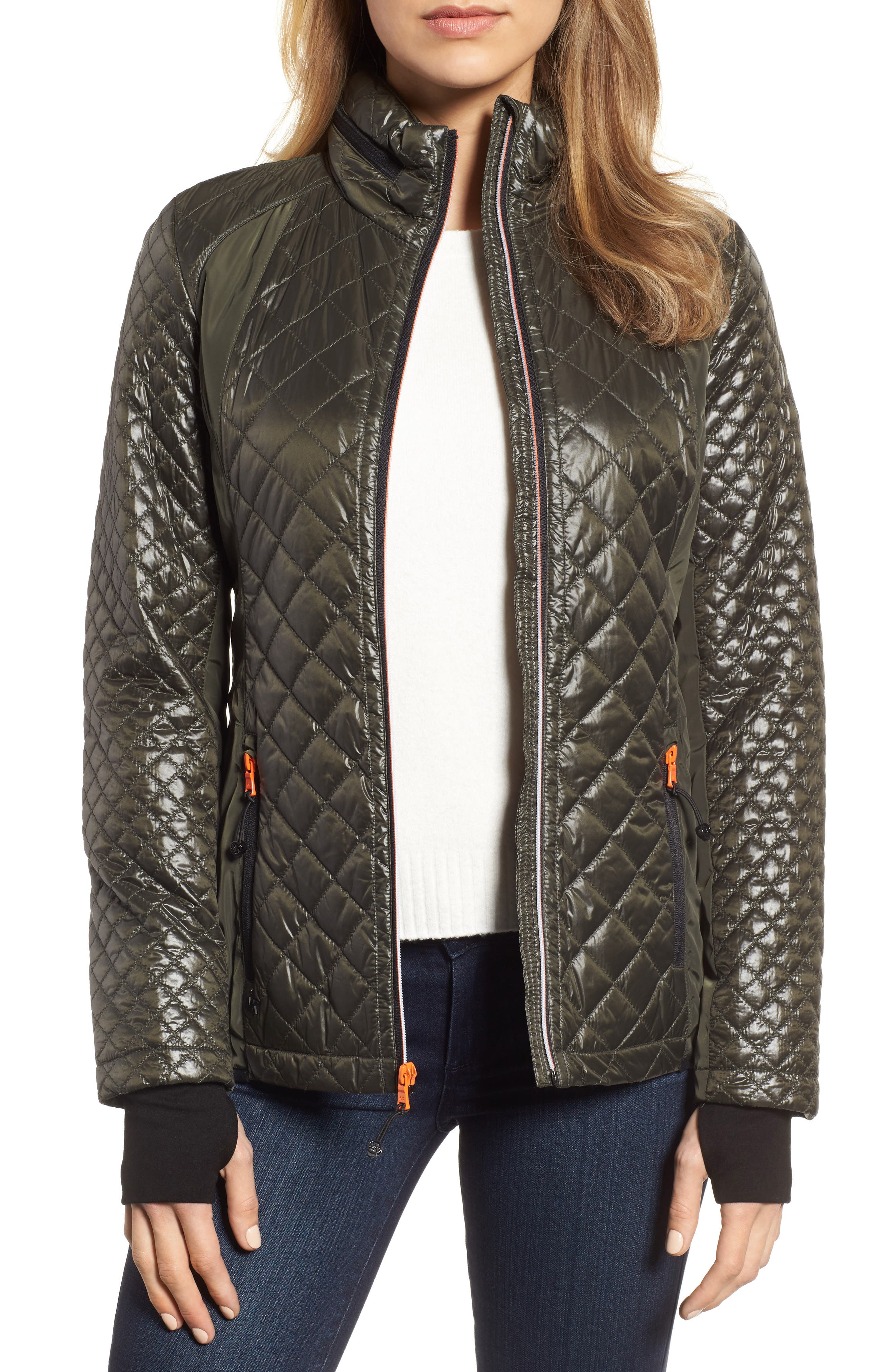Neoprene & Diamond Quilted Jacket,                             Main thumbnail 1, color,                             Olive