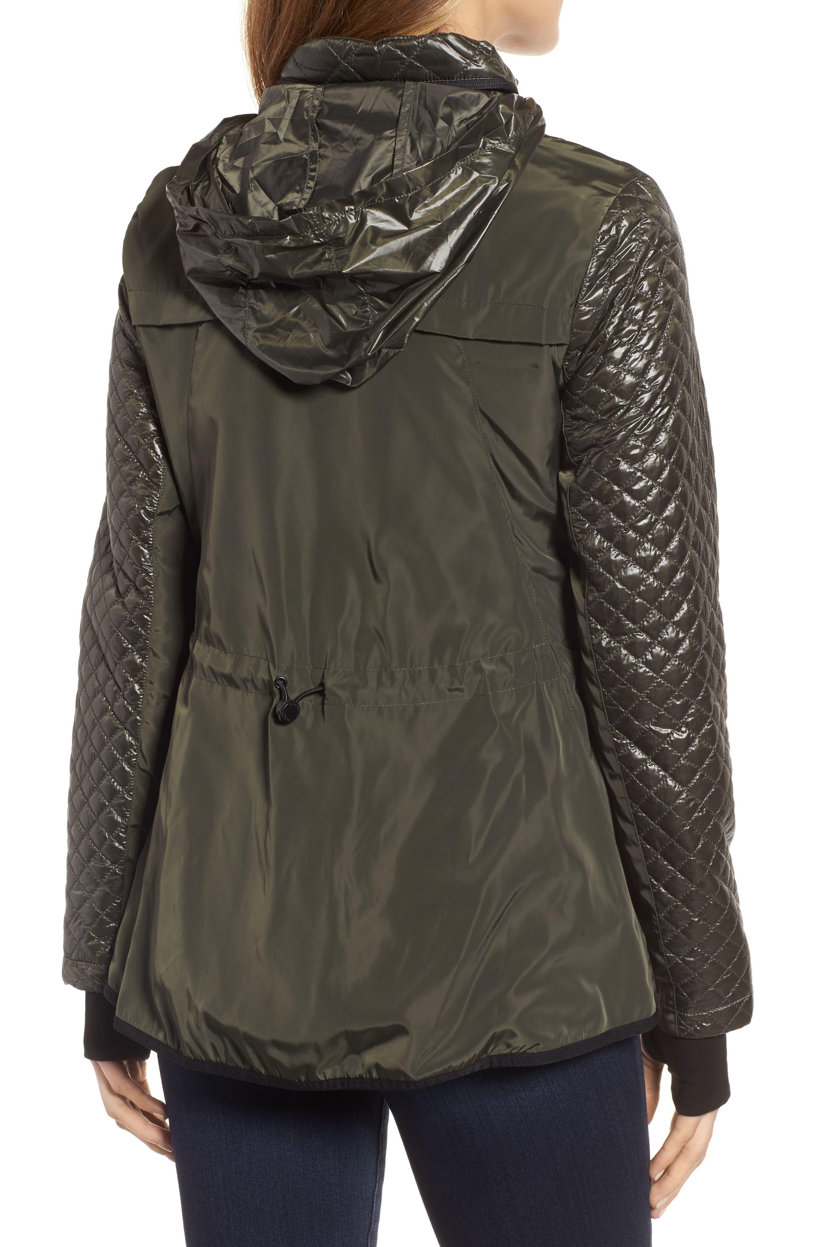 Neoprene & Diamond Quilted Jacket,                             Alternate thumbnail 2, color,                             Olive