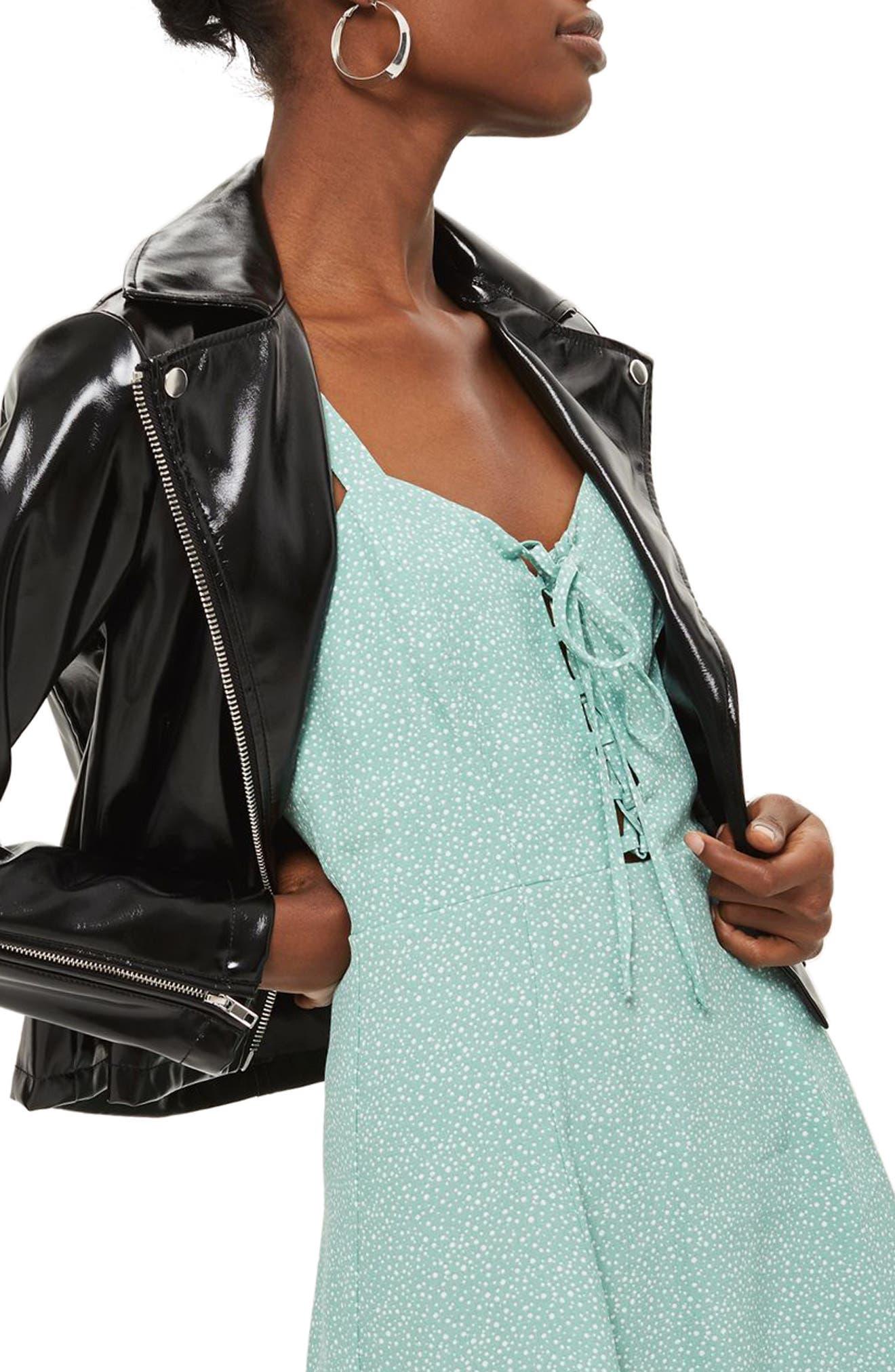 Polka Dot Lace-Up Minidress,                         Main,                         color, Mint Multi