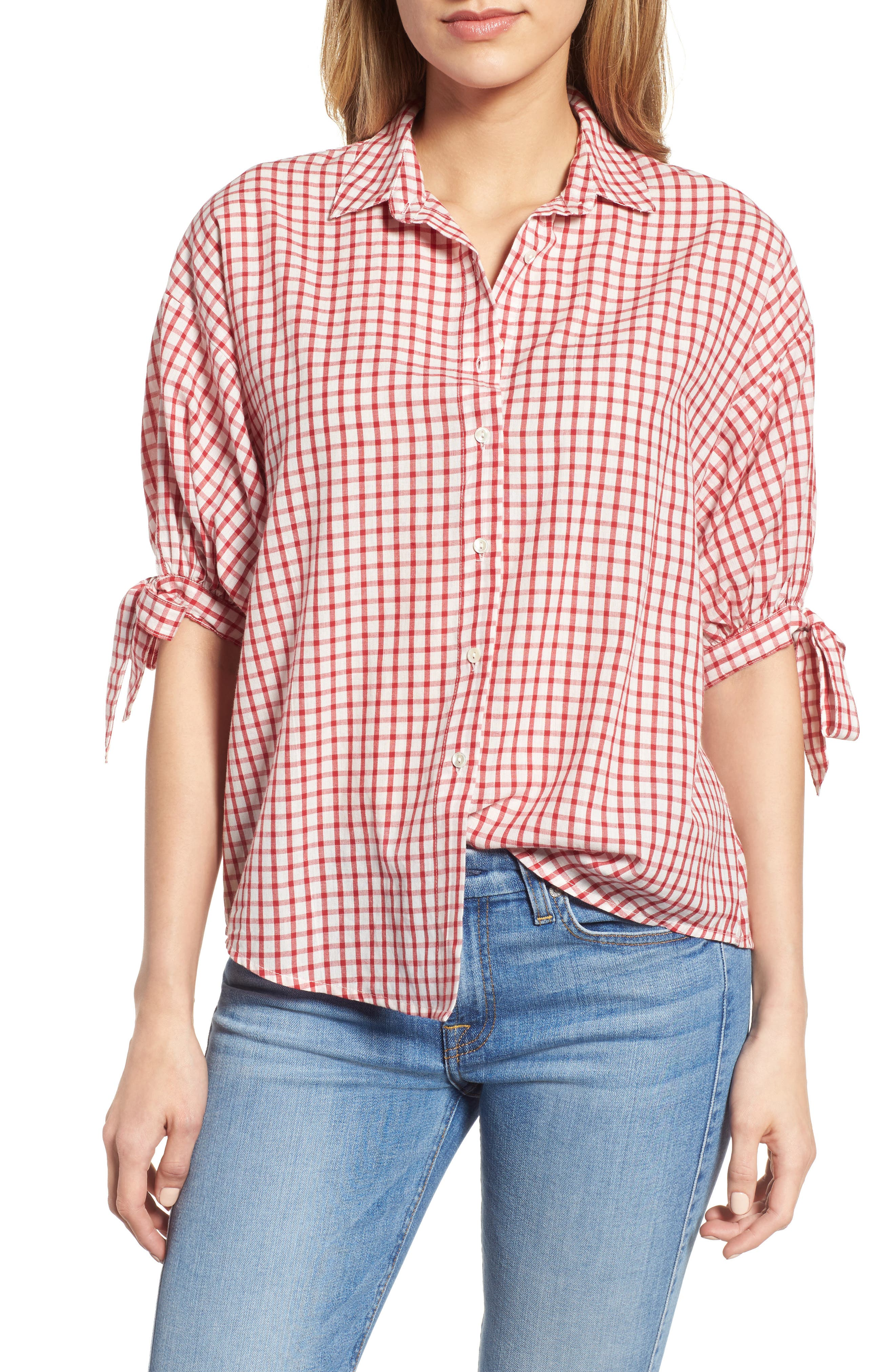 Check Button-Down Shirt,                             Main thumbnail 1, color,                             Red